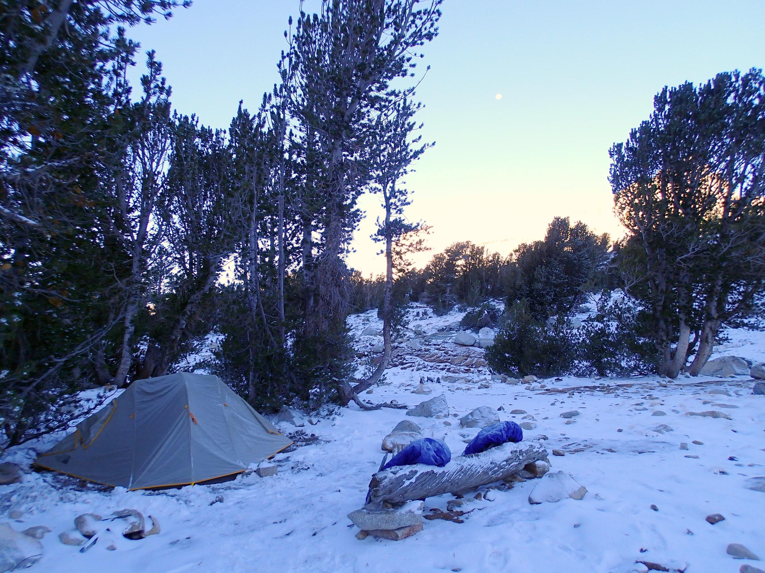 First season snow at camp