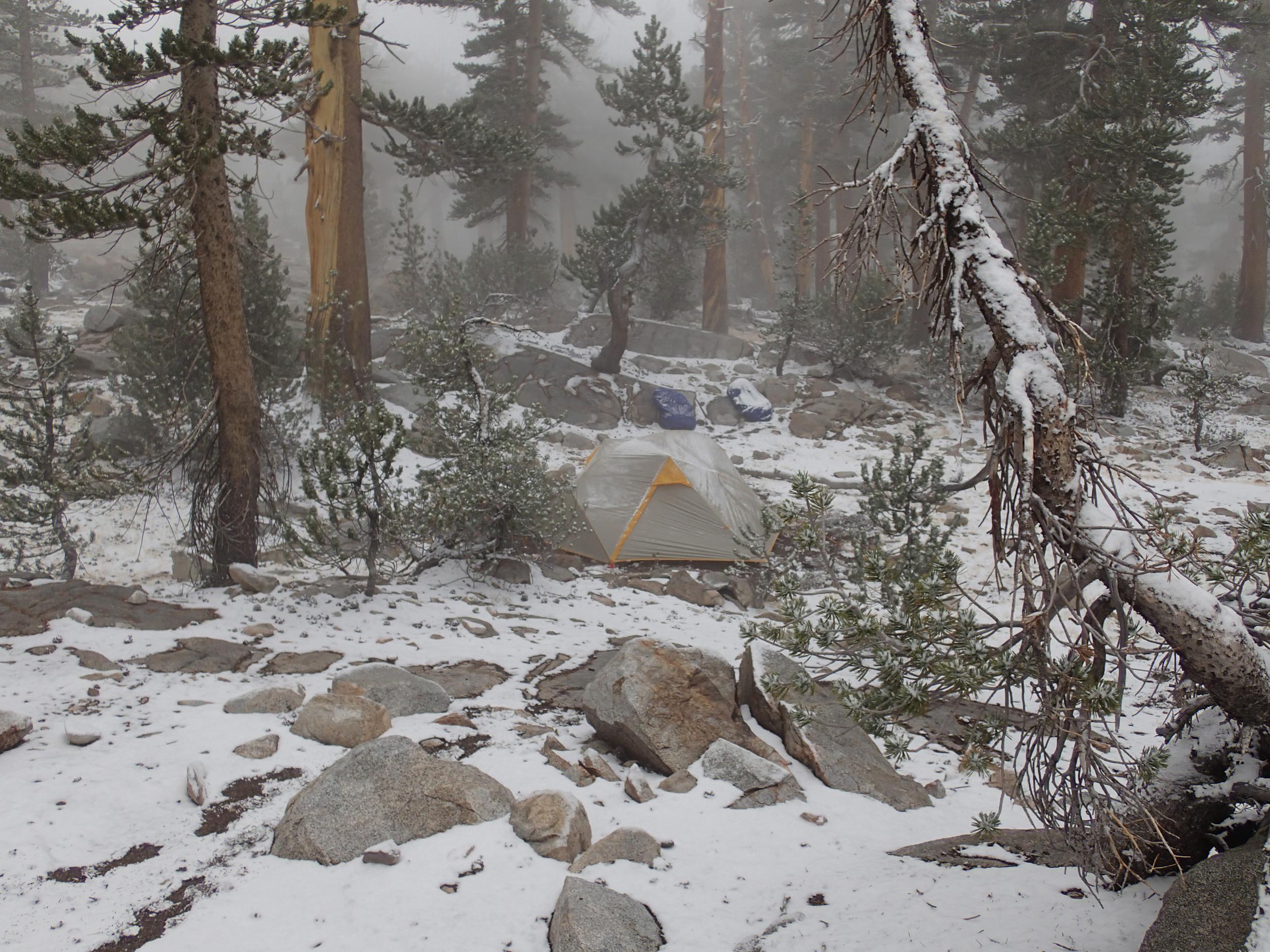 Snowy tent near Bench Lake