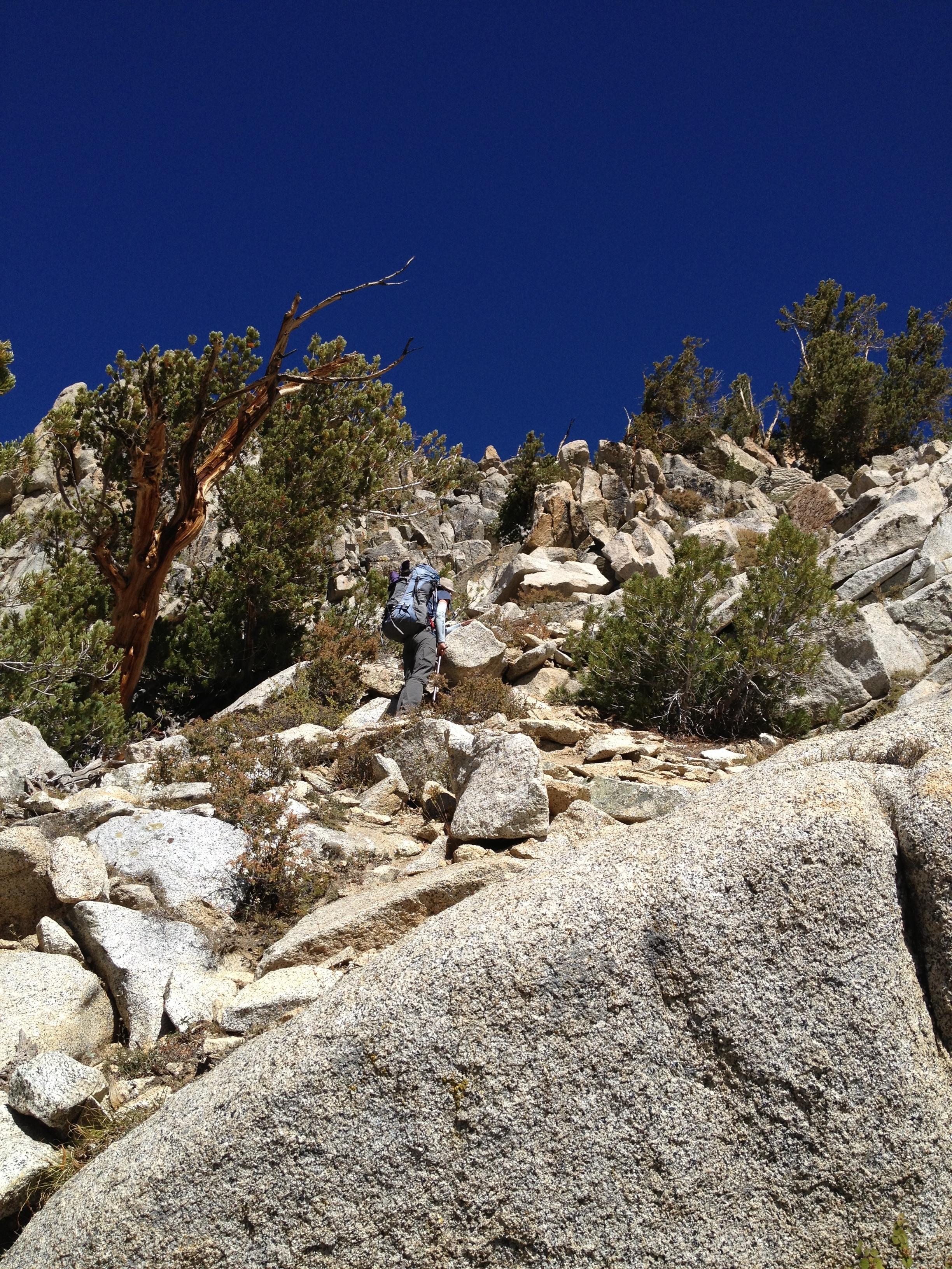 Rocky climb at base of King Col