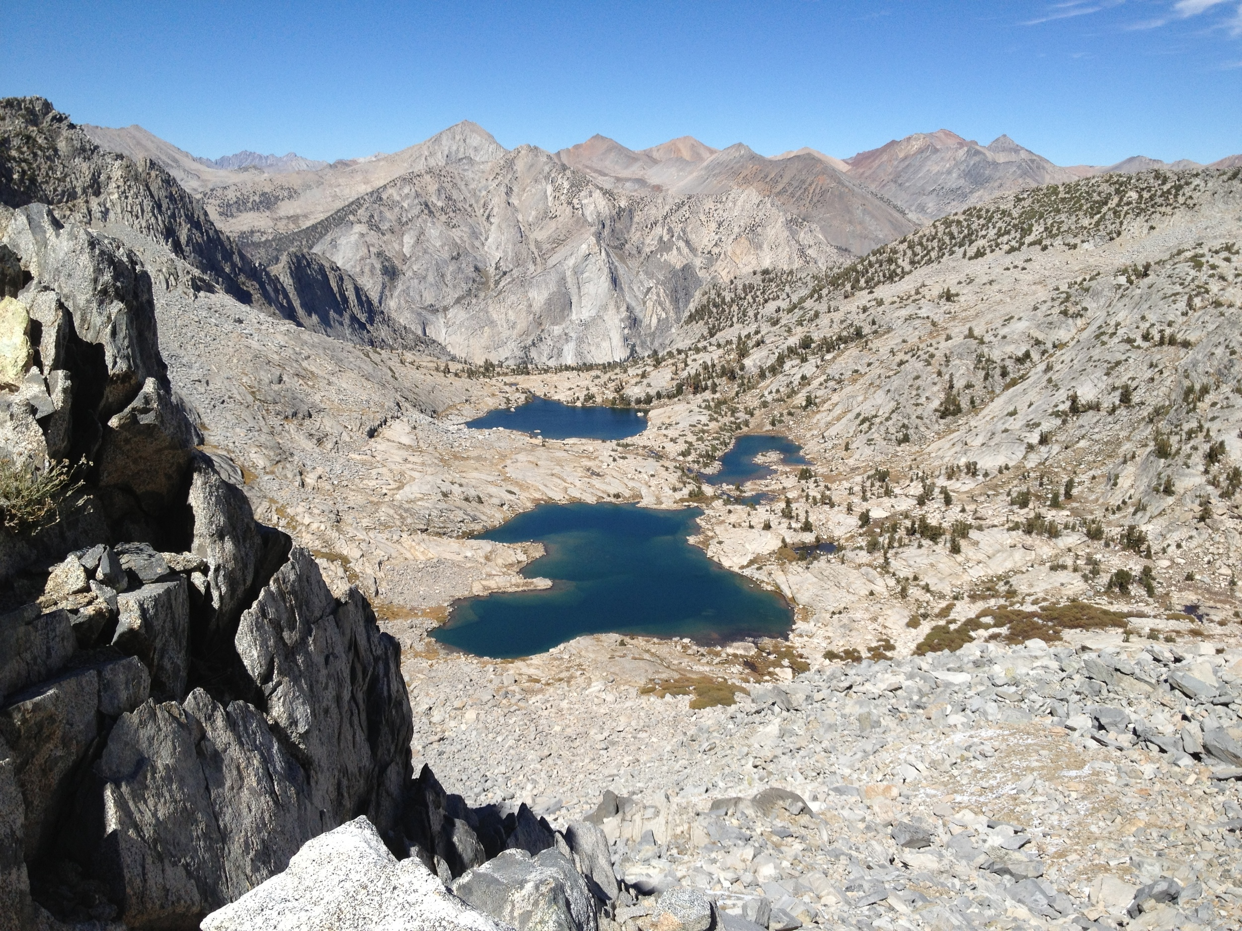 Lakes coming into view from moraine