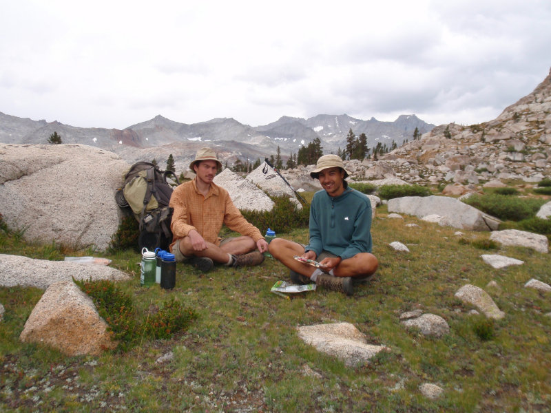 Mike & Andrew take a late lunch on a shelf below Colby Pass with a backdrop of the Kaweahs and stormy sky