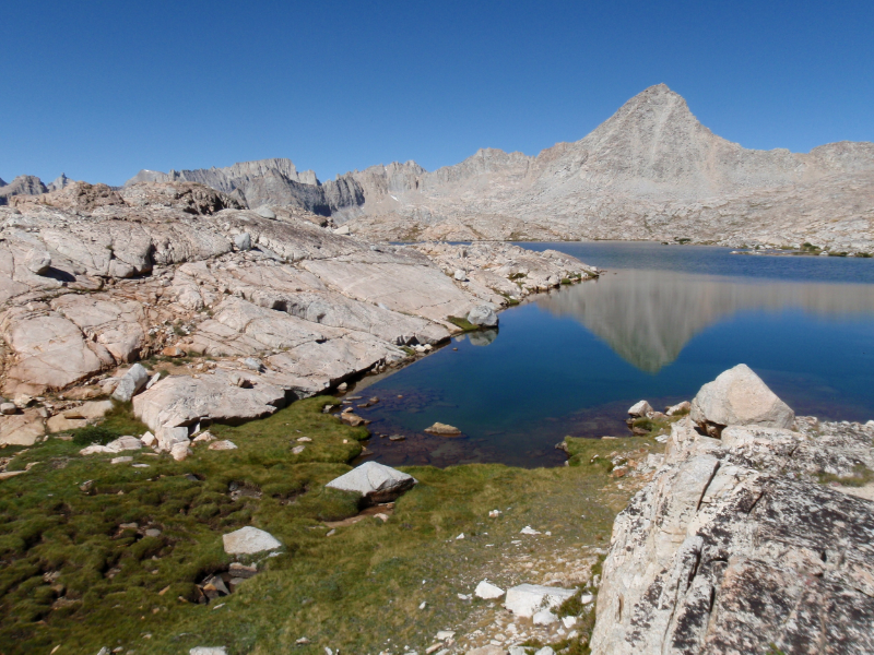 Mt. Genevra reflected in an unnamed lake, Upper Kern Basin