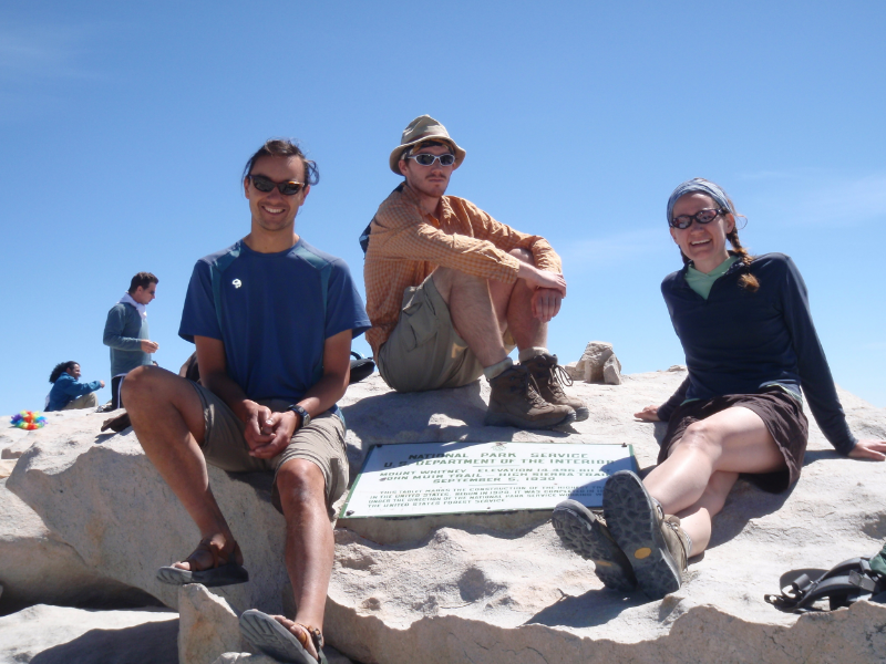 Andrew, Mike, & Cheri on Mt. Whitney's summit at the plaque marking the terminus of both the High Sierra Trail and the John Muir Trail