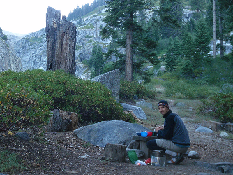 Andrew works on dinner at our basic but very serviceable first night's campsite, Buck Creek