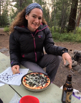Outback Oven pizza, Old Rasputin imperial stout, and the NYT crossword puzzle - car camping at its finest!
