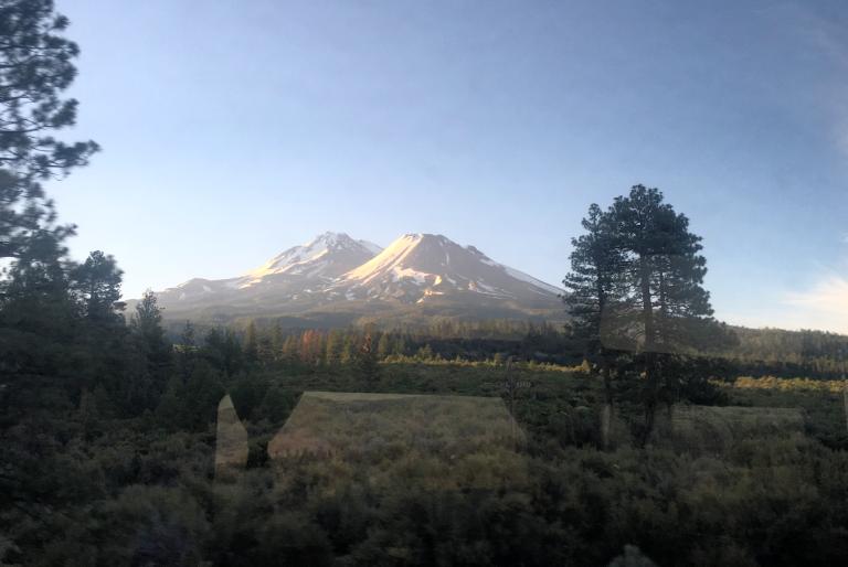Western face of Mt. Shasta through the train window