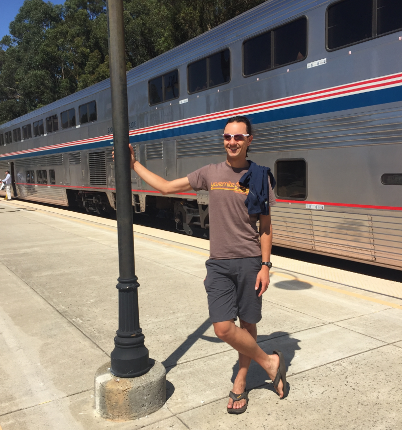 Enjoying the fresh air at a quick station stop in San Luis Obispo