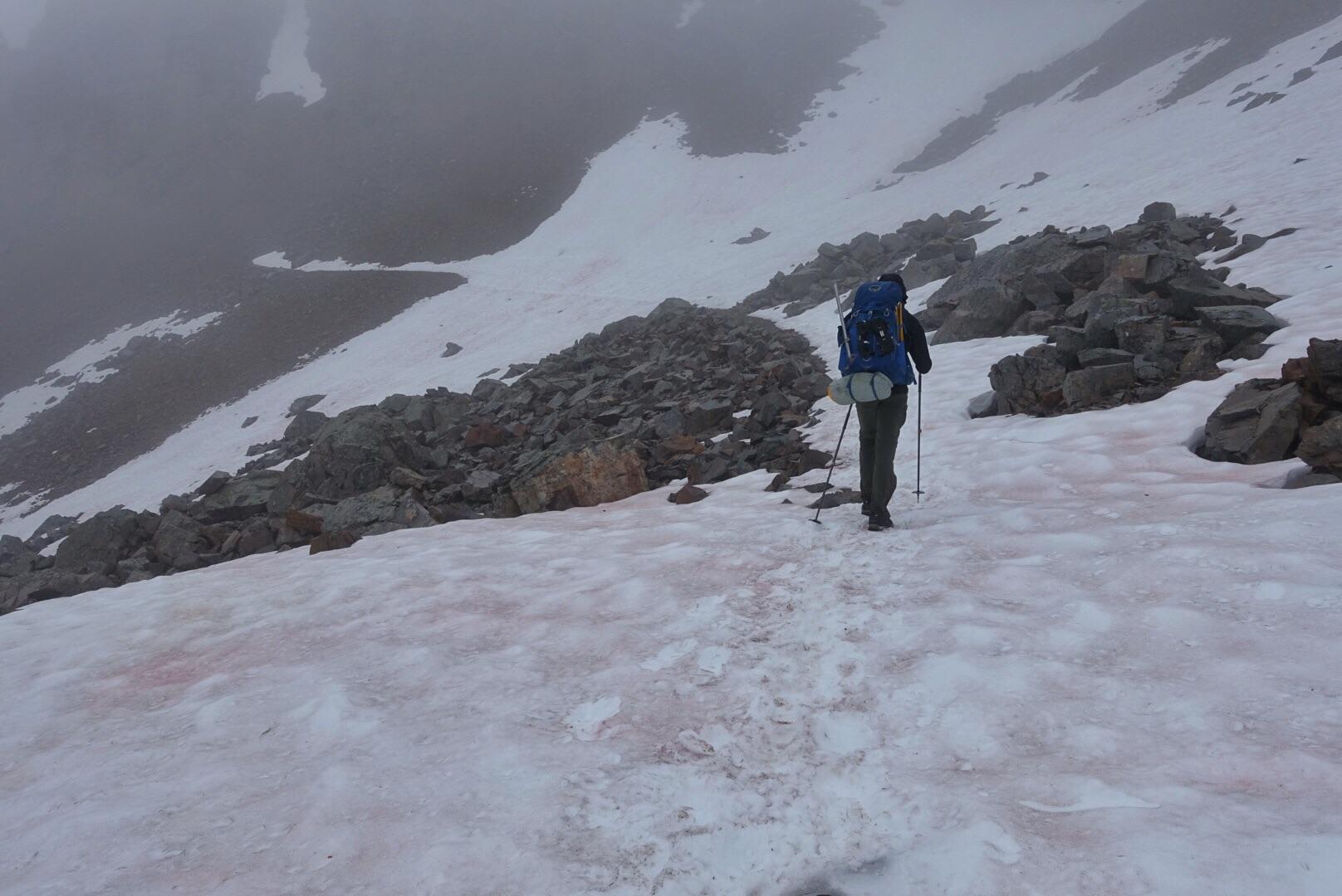 Andrew crossing one of many wet, misty snowfields south of Tatie Peak