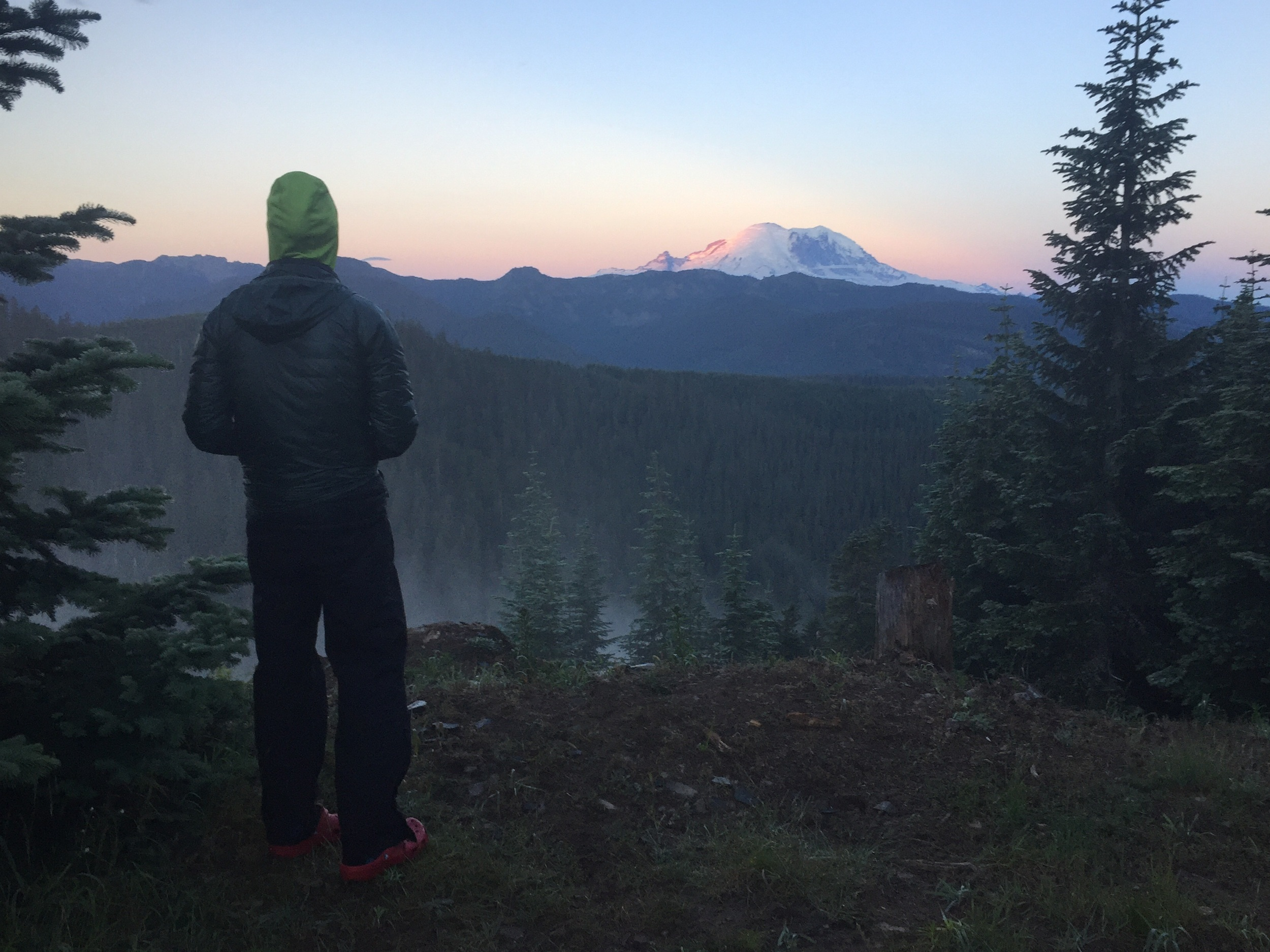 Macro enjoys first morning light on Mt Rainier from our roads-end campsite