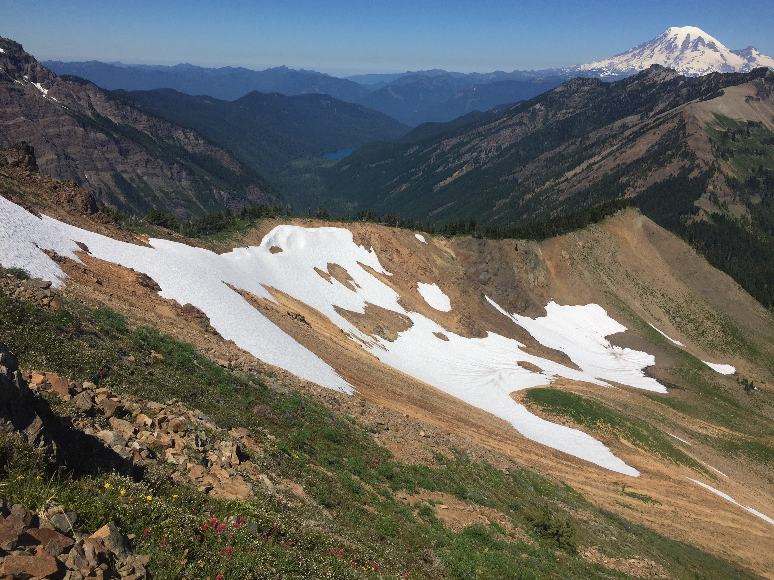 Views for days as we reach the first ridge (& Mt Rainier, naturally)