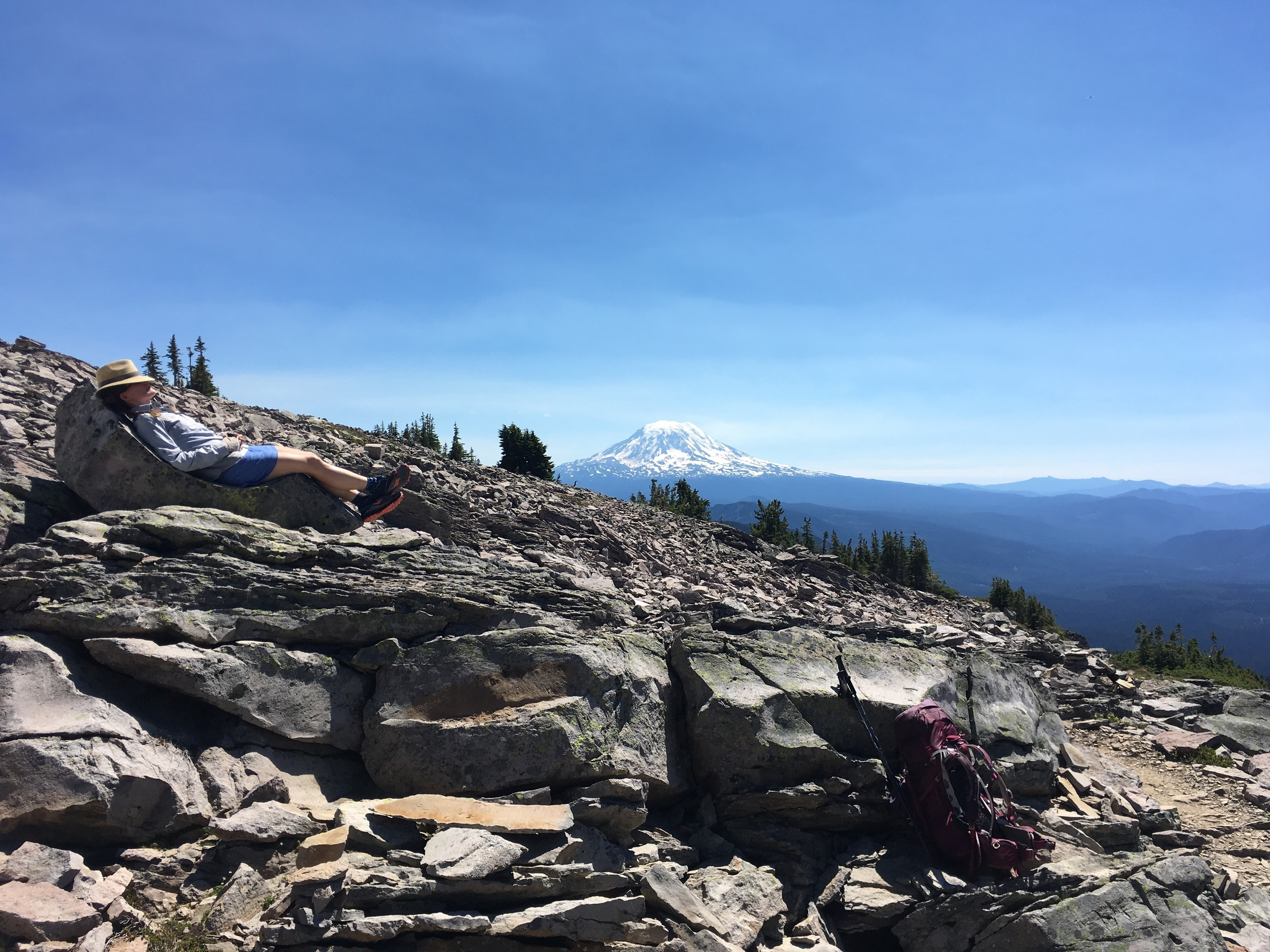 Mountain lounge chair, with a view of Mt Adams