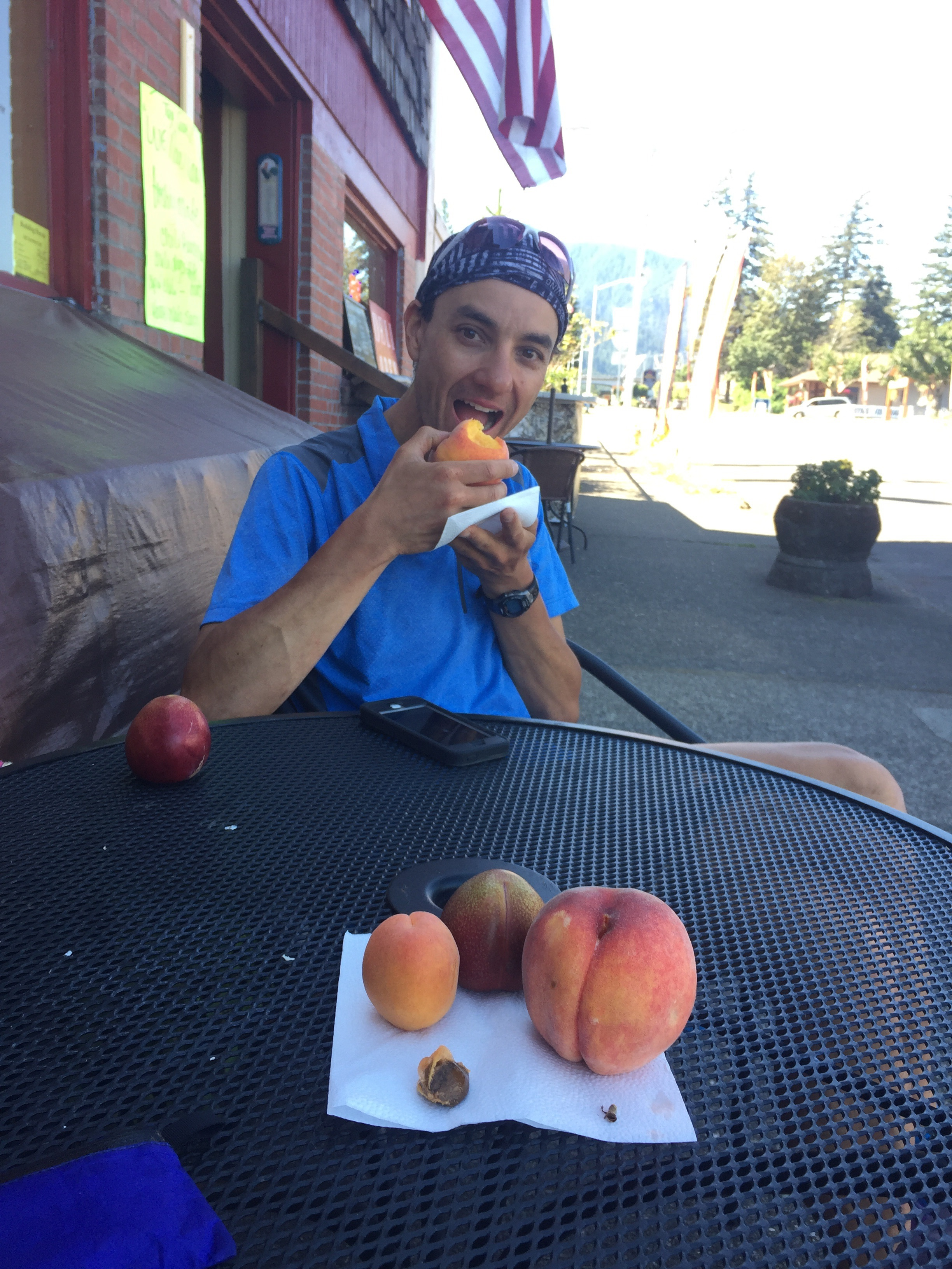 Macro enjoying fresh fruit in Cascade Locks.