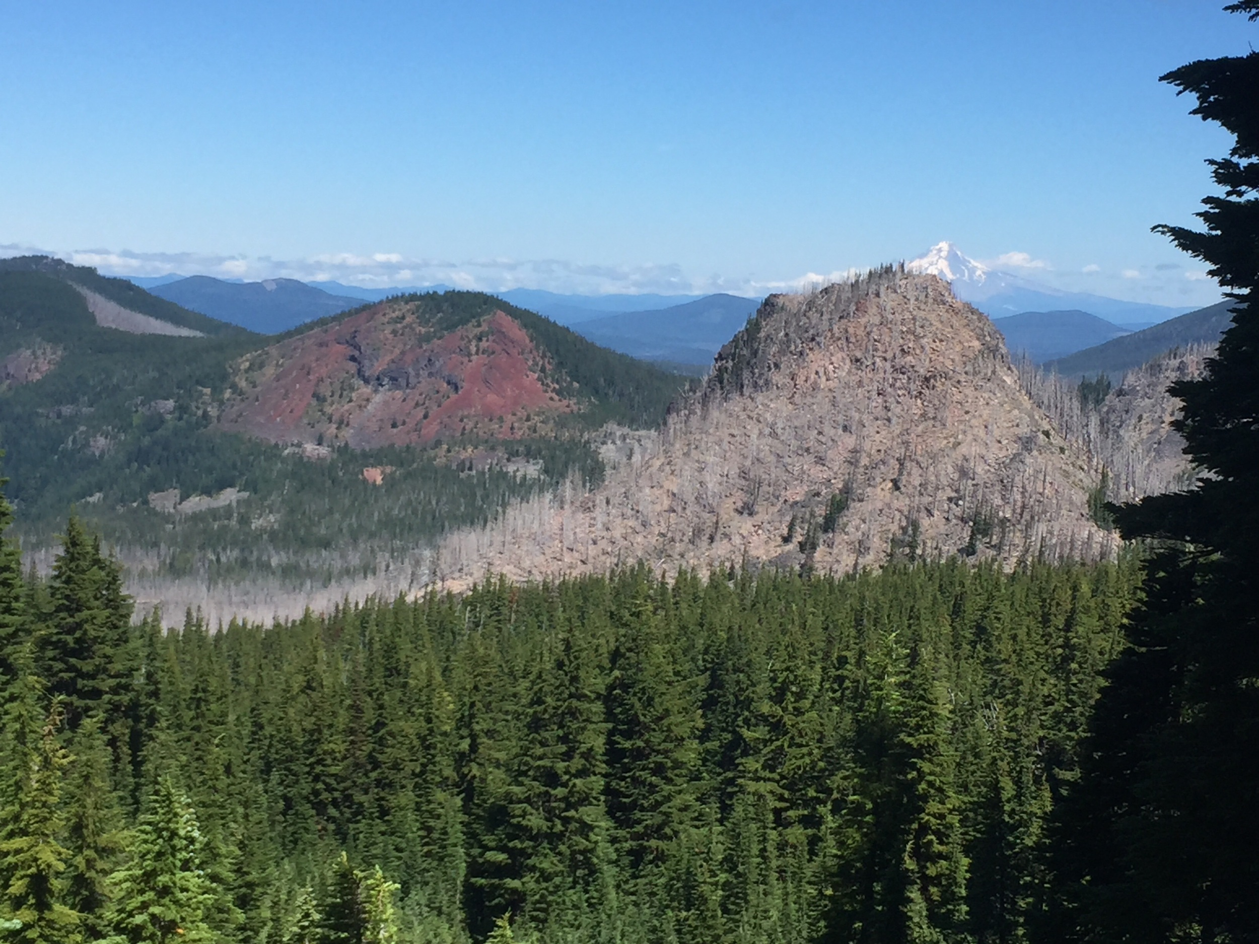 Pyramid Butte and the view north with a peek-a-boo appearance by Mt Hood