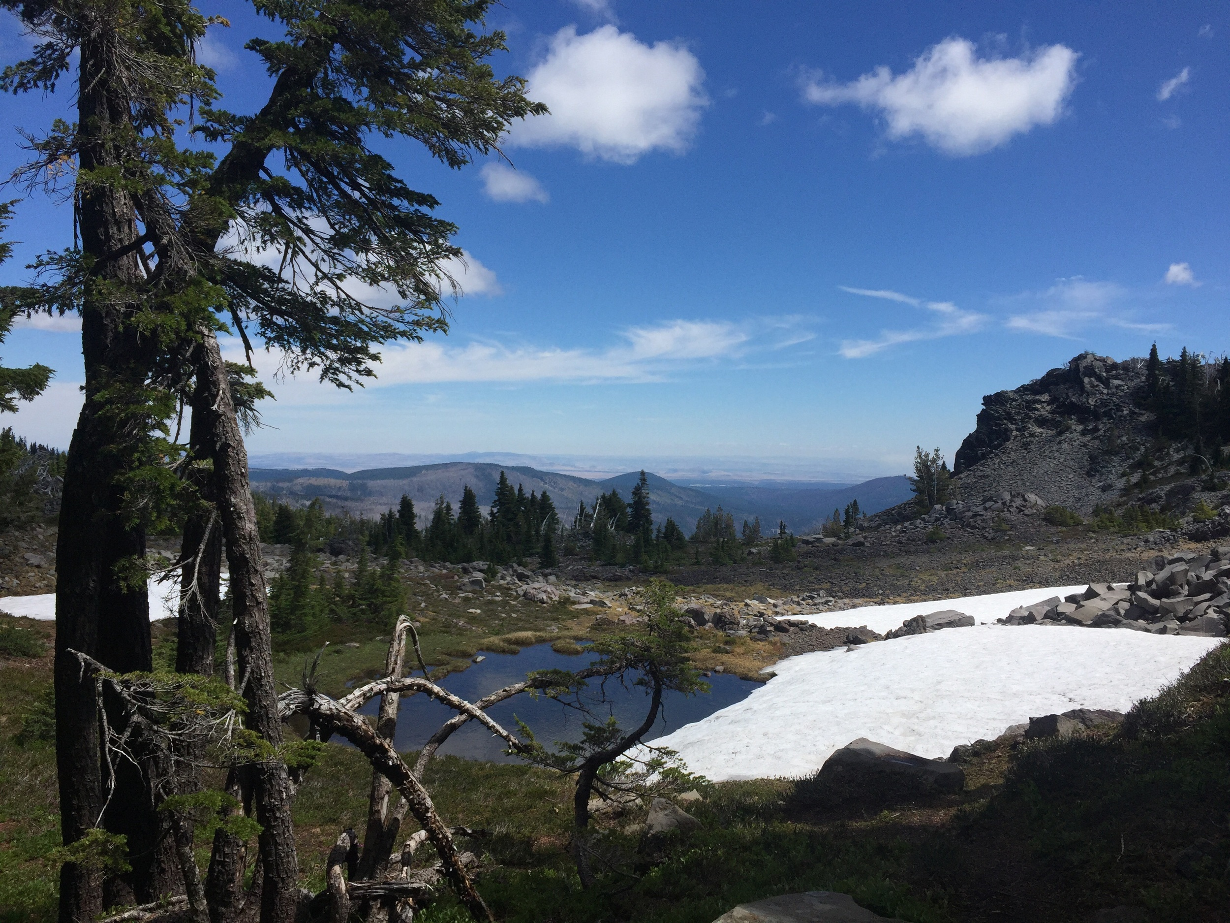 An oasis of snowmelt pools as we climb higher, and a broad vista to the north