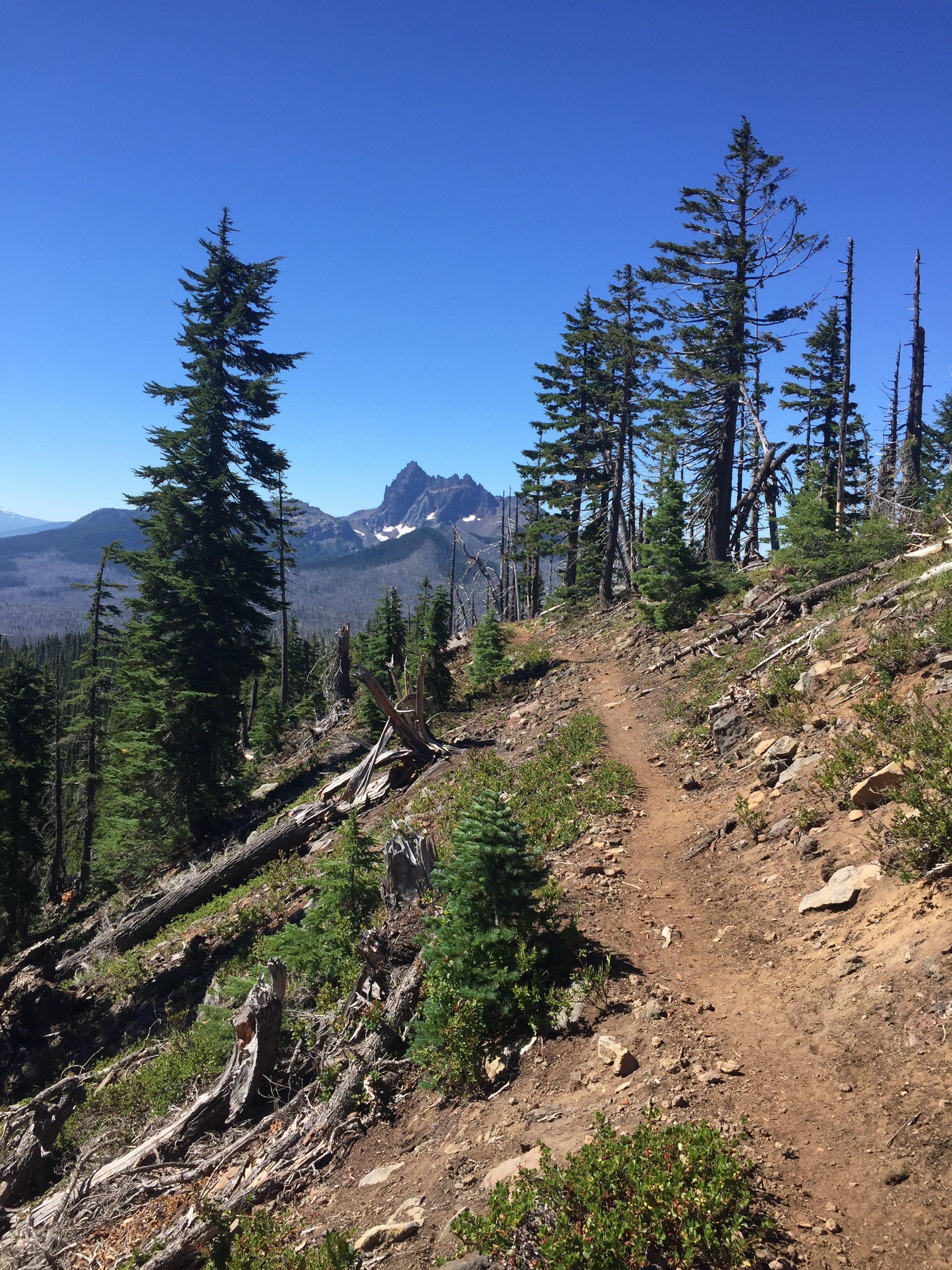 Our first clear view of 3-Fingered Jack comes after we leave Rockpile Lake