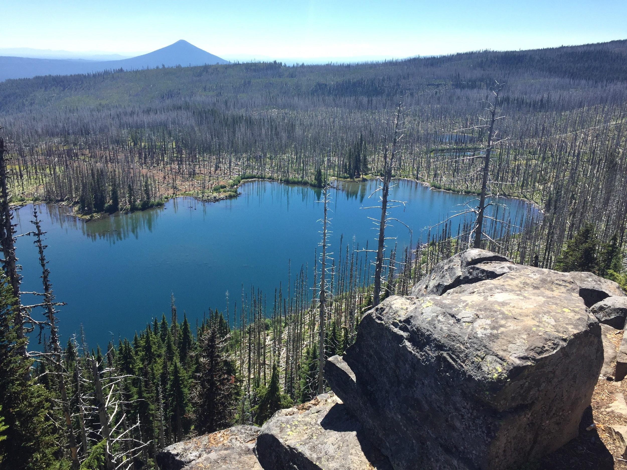 Distant Black Butte rises beyond Koko Lake, in the middle of a huge burn zone
