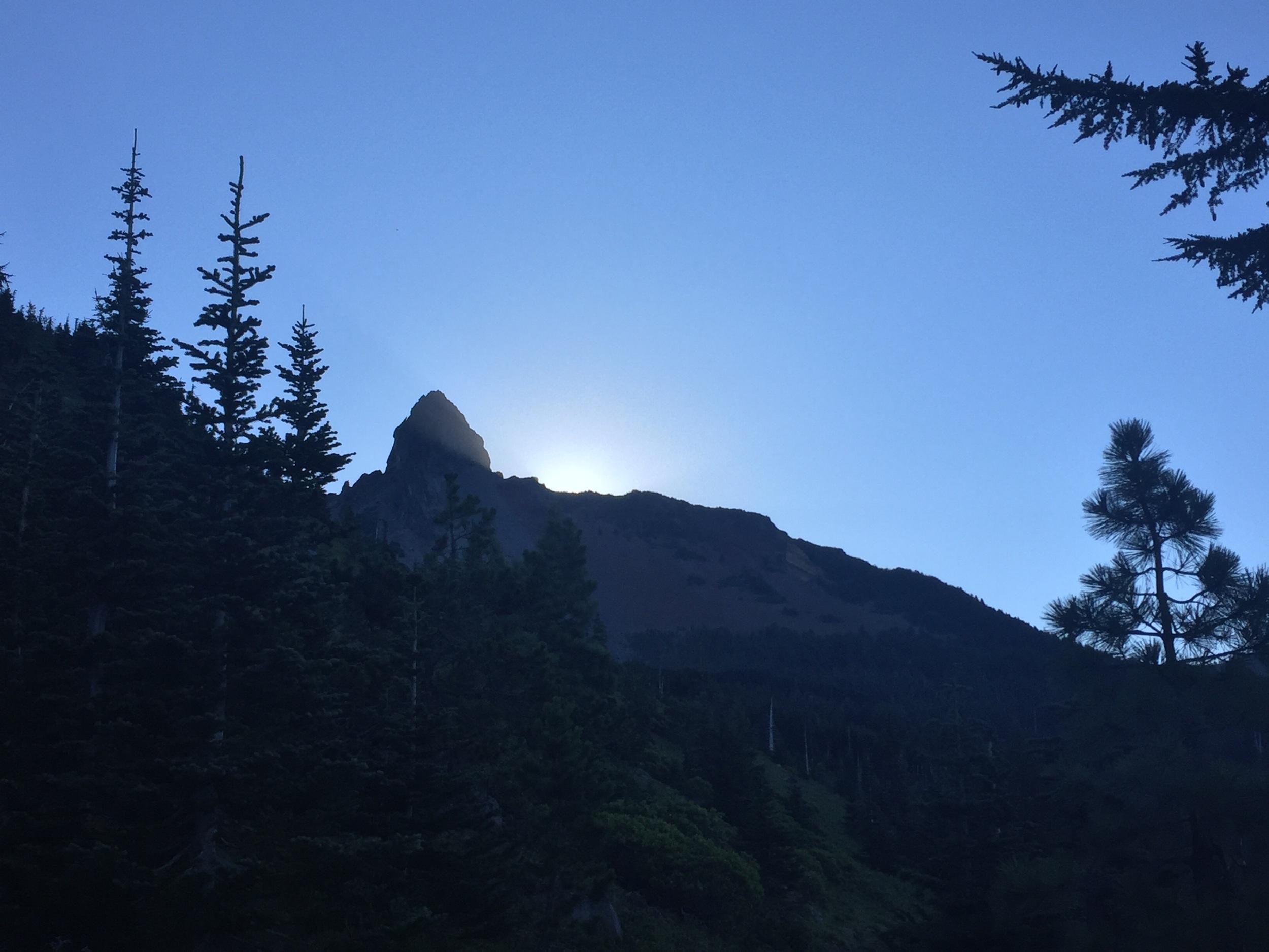 Sun rising behind Mt Washington