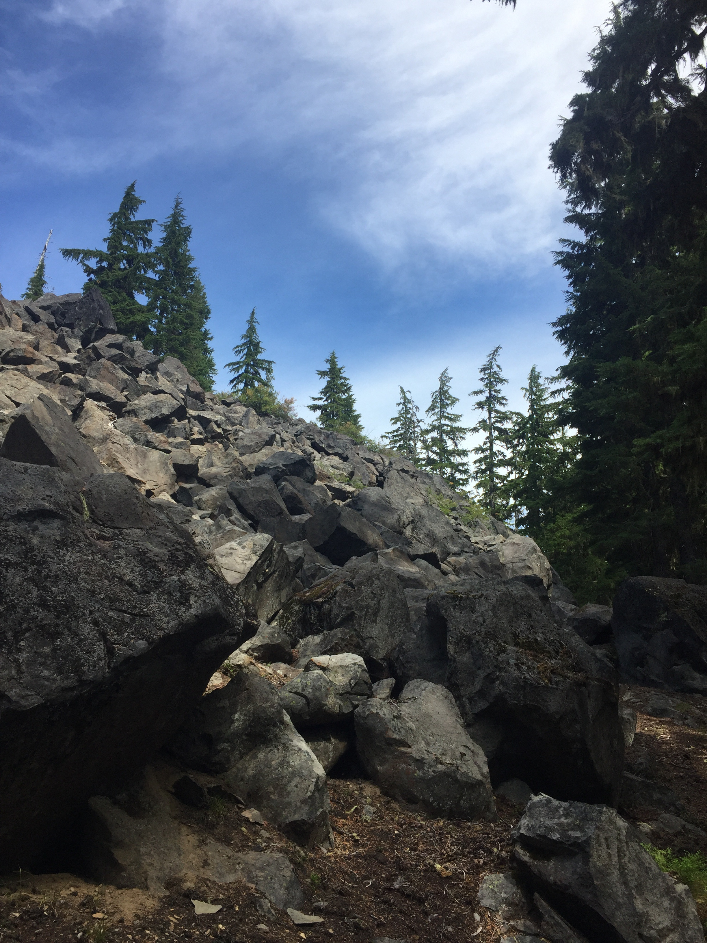 Rare rocky slope in the lakes district of southern Three Sisters Wilderness