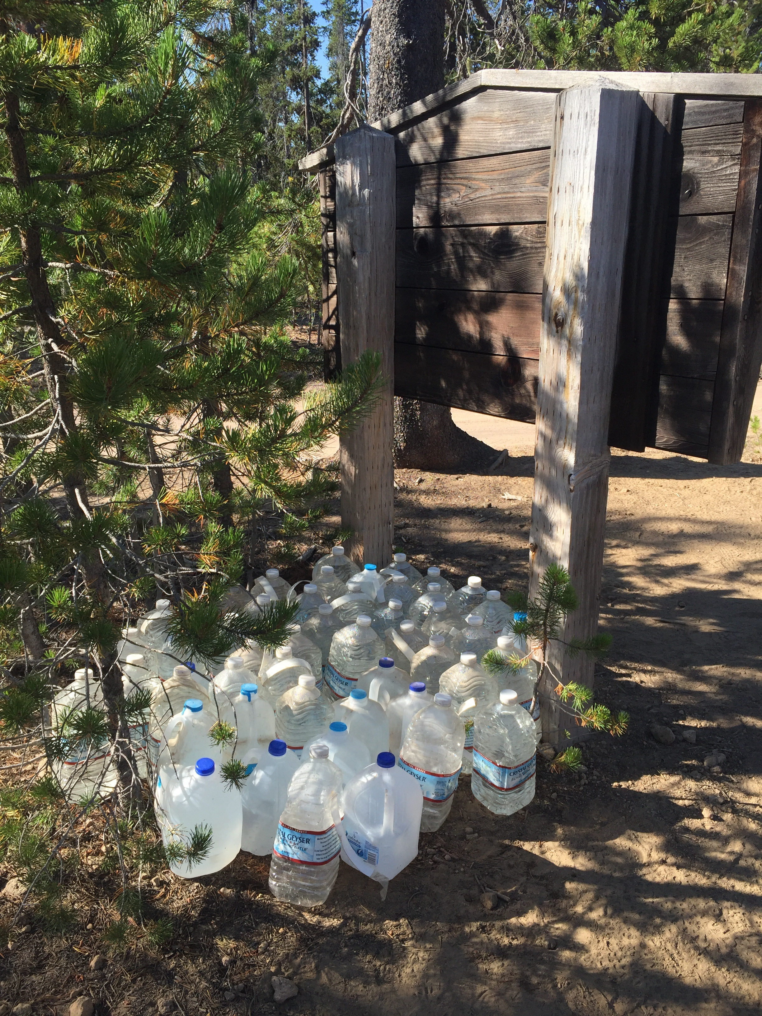 Water cache at a forest road just north of Highway 138