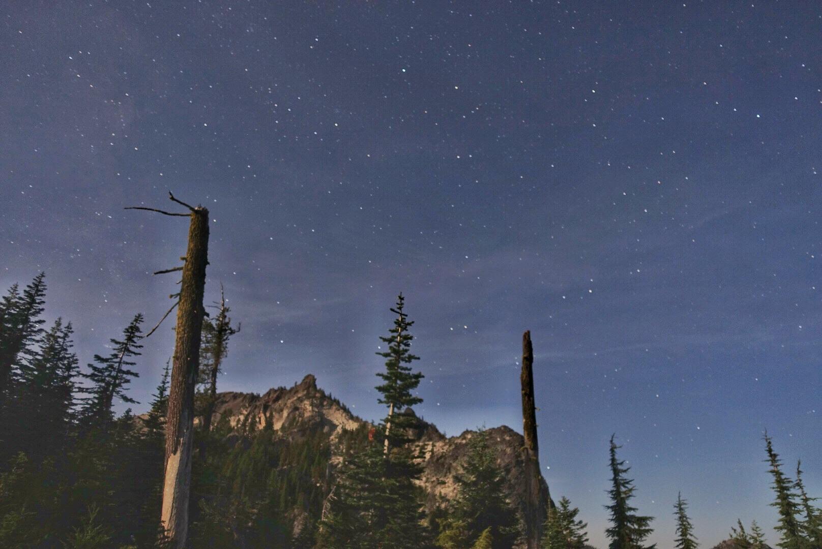 Devils Peak under a starry sky.