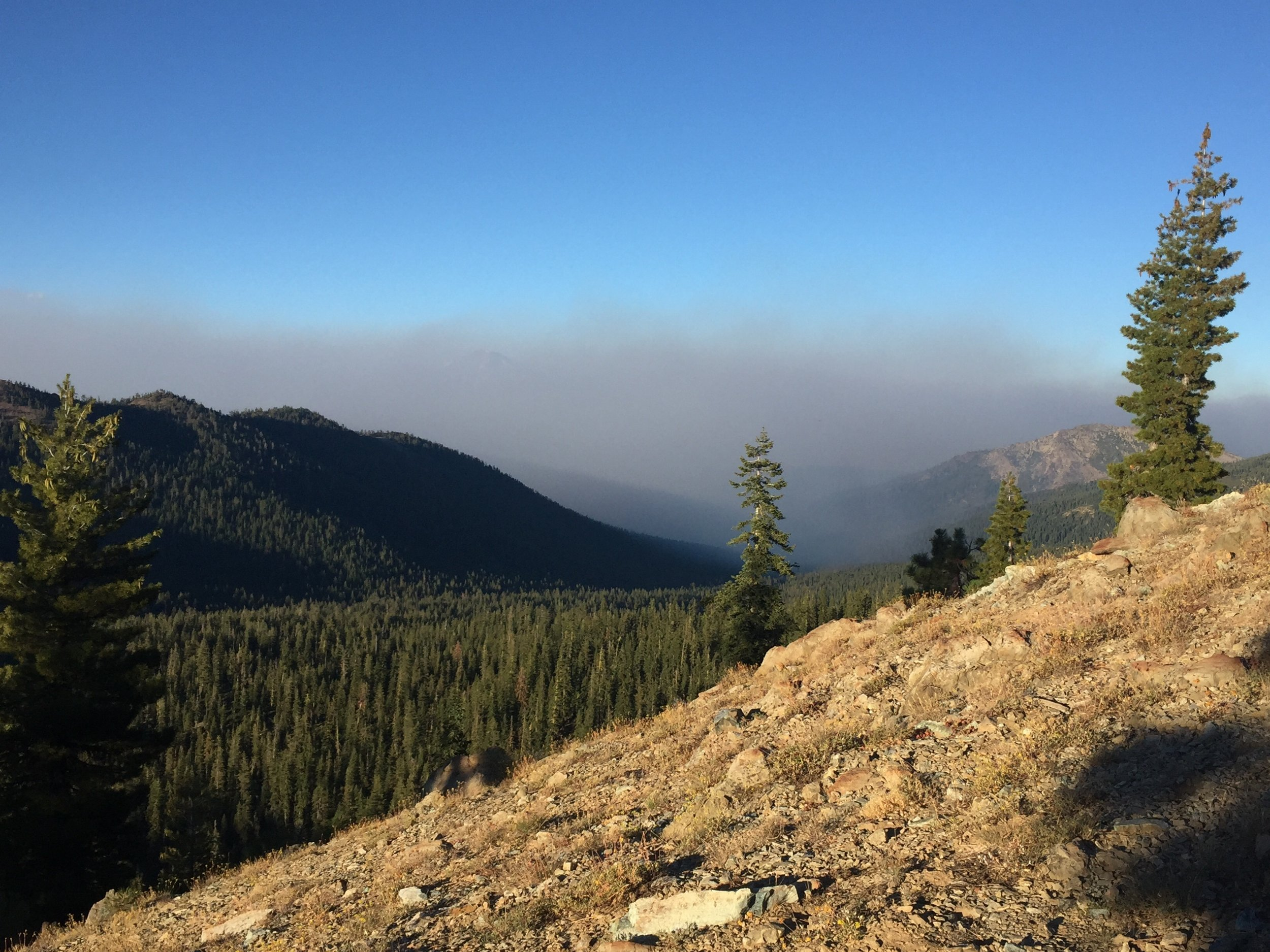 Thick smoke billowed into the valley over the course of 30 minutes, obscuring our view of Mt. Shasta