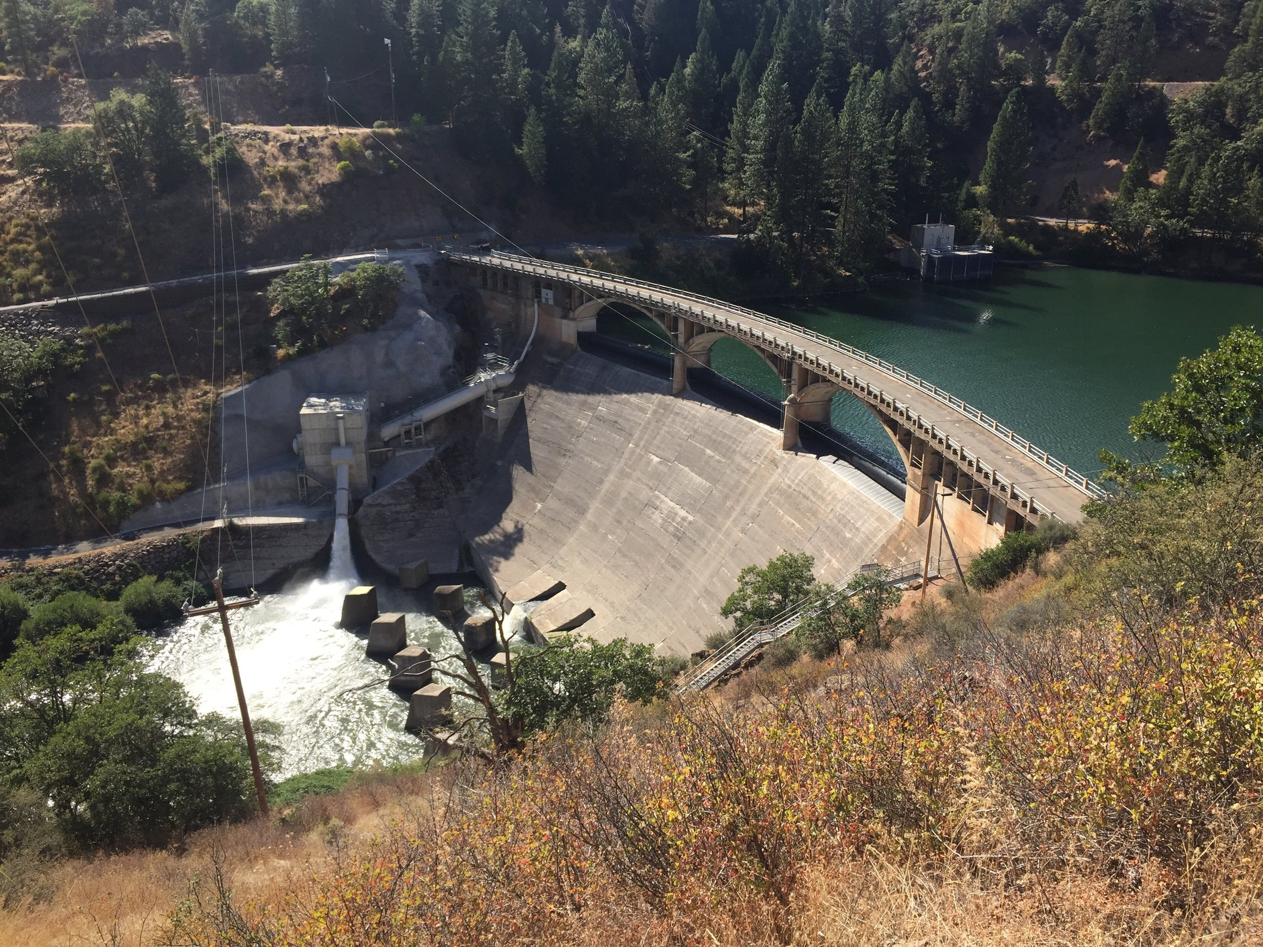 Lake Britton dam with the Pit River far below