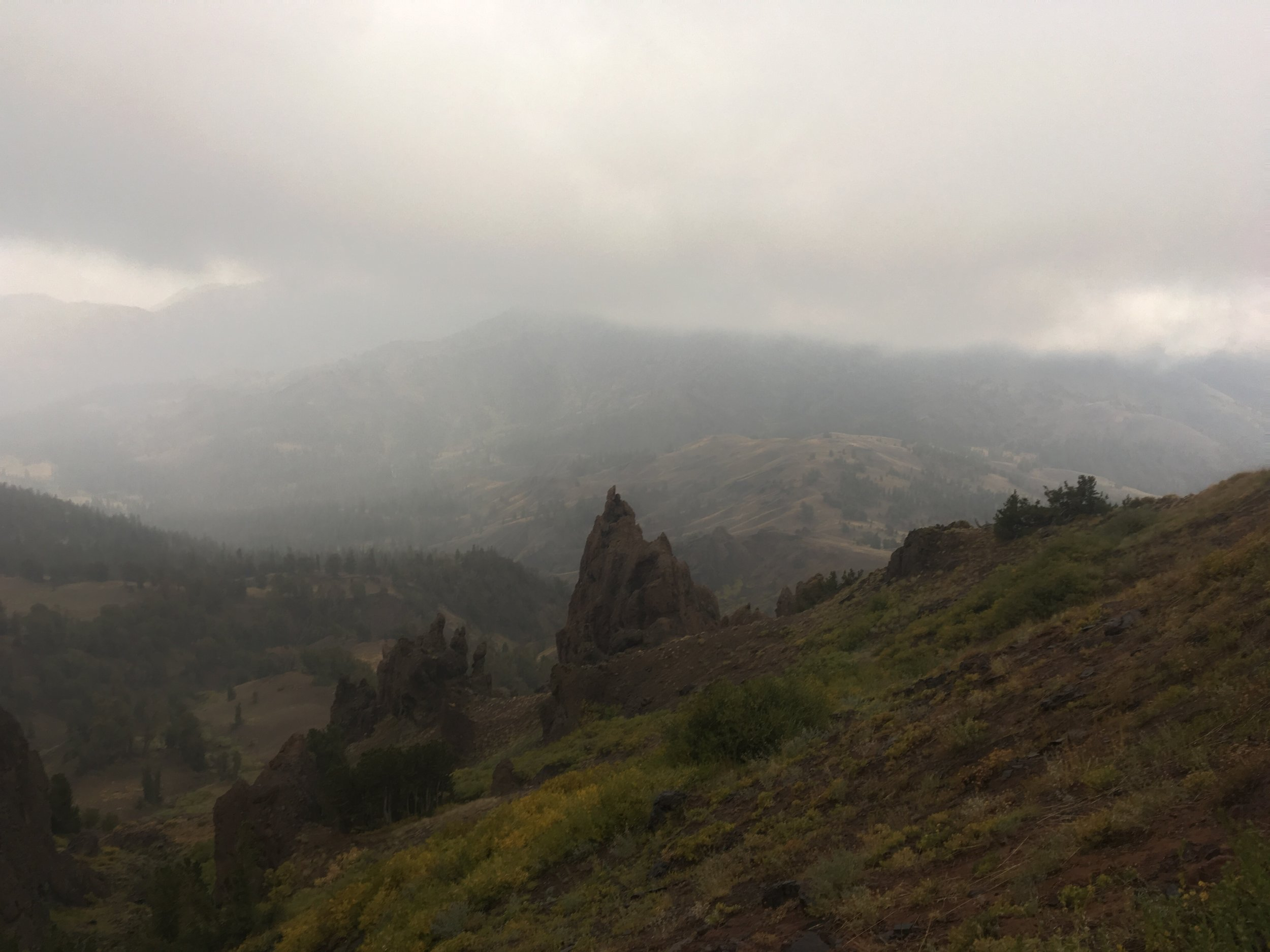 Sheets of hail, snow and rain on the shoulder of Sonora Pass.
