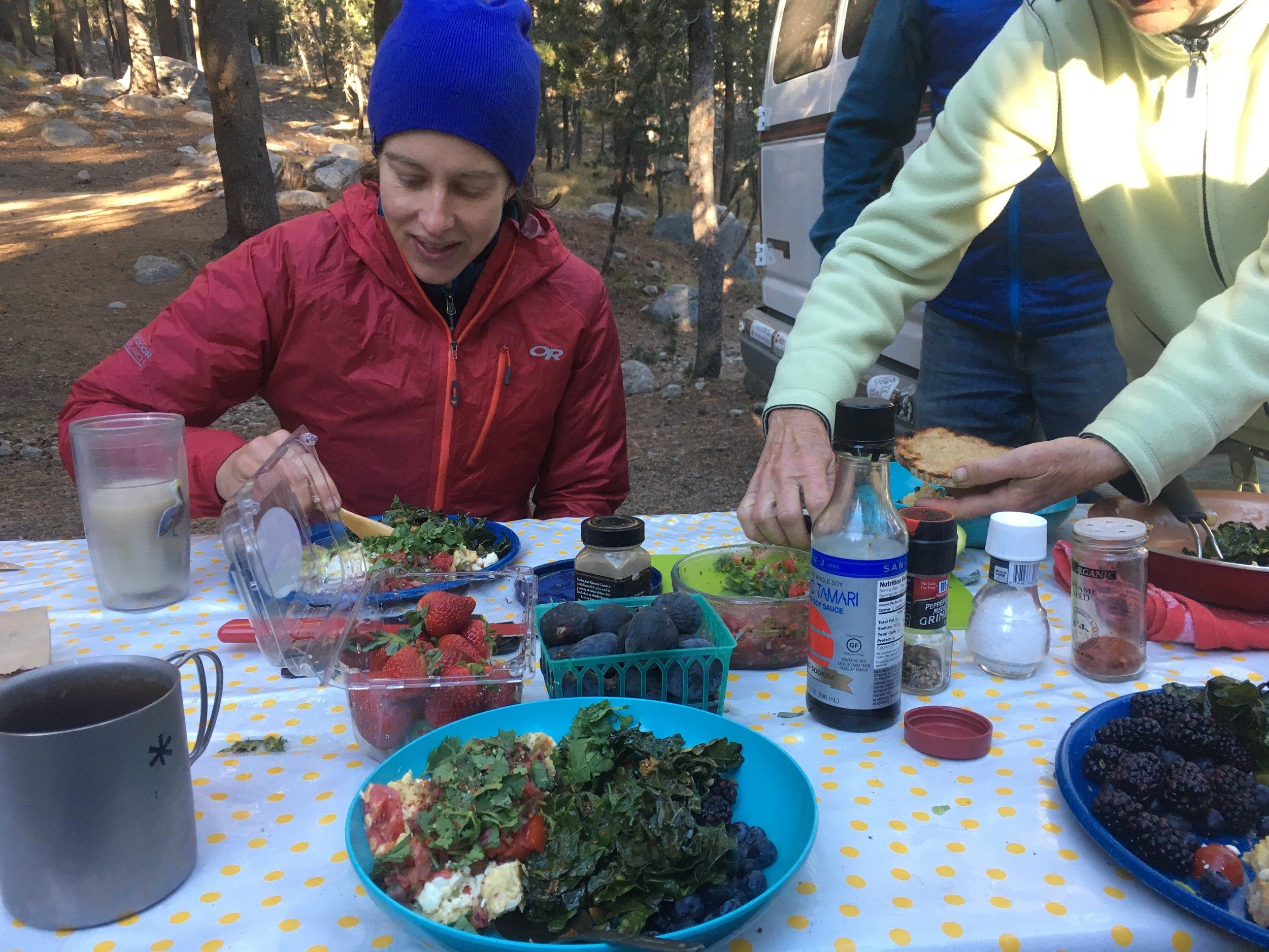Brekkie feast at Chez Mobi (the name of Hillair and Michael's camper van).