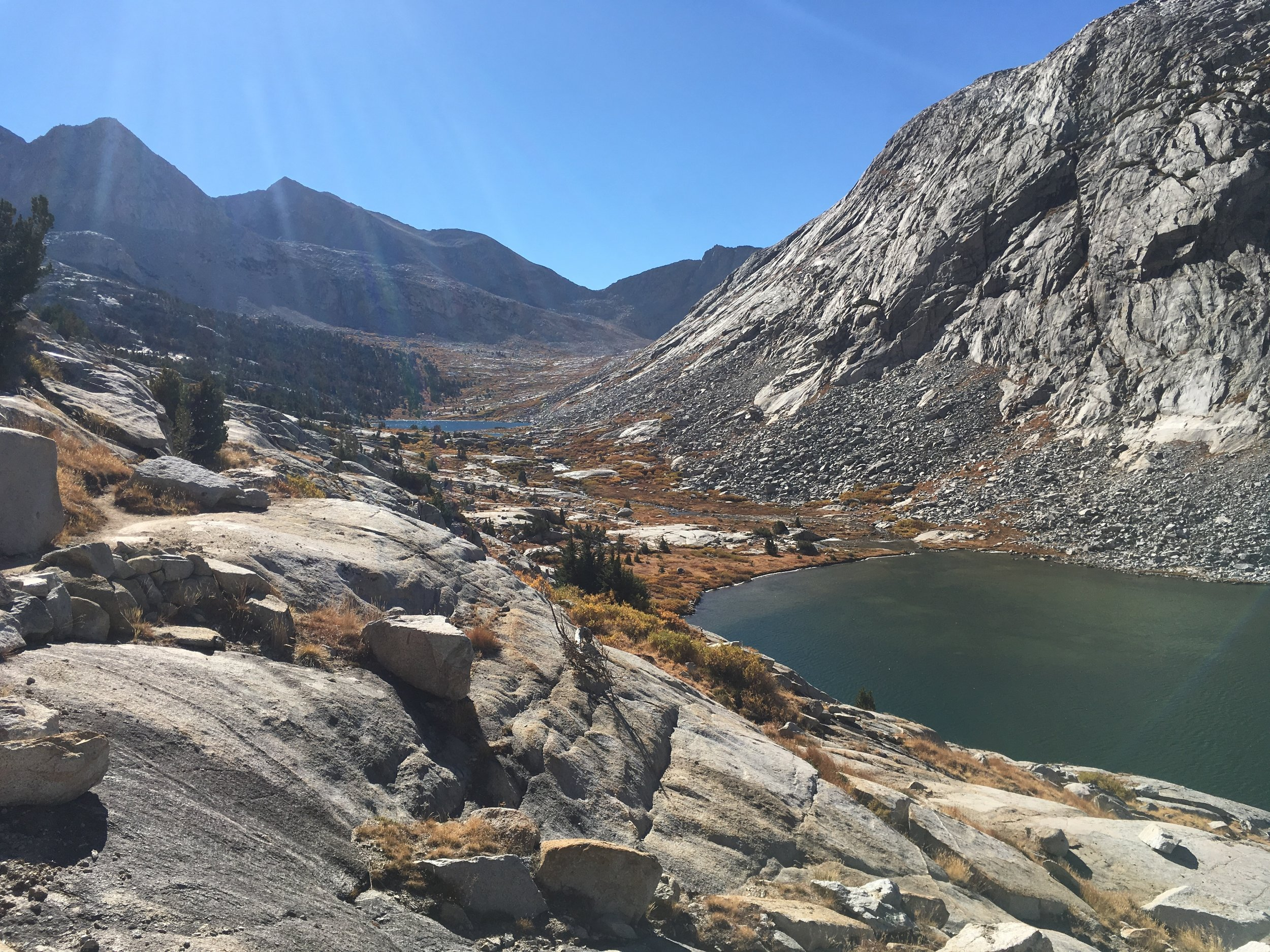 Upper Palisade Lake with a view up to Mather Pass.