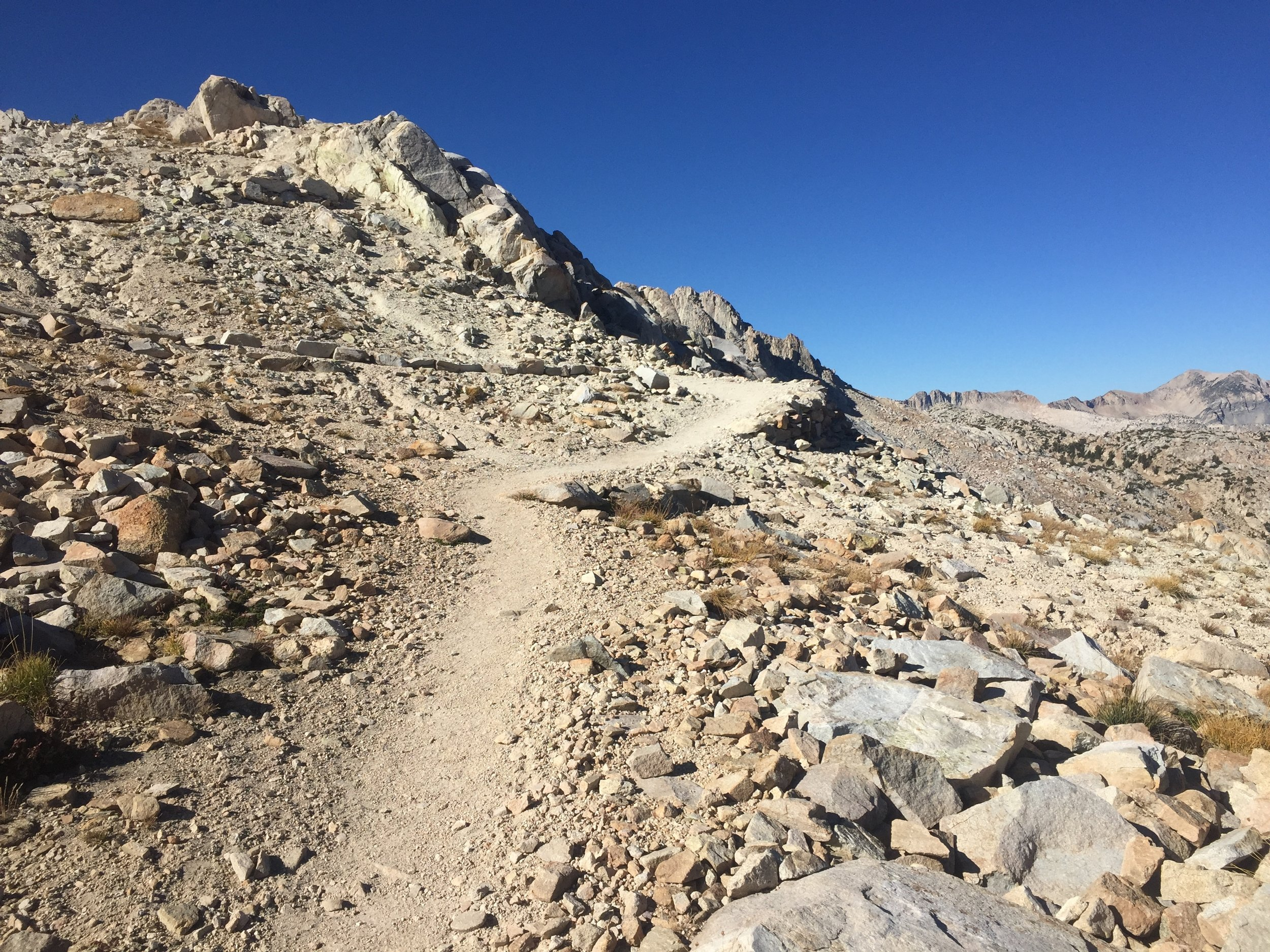 Following the trail over the final shoulder before dropping down to Silver Pass