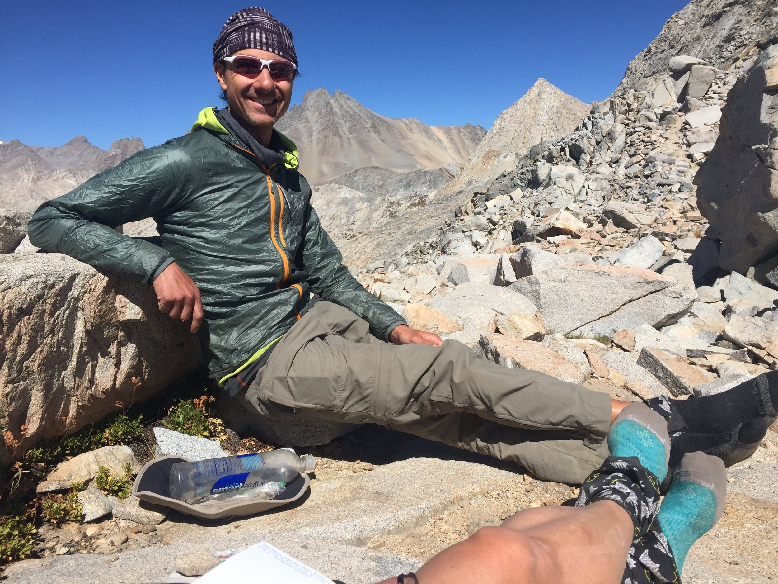 Sitting atop Mather Pass (12,100') on October 1, AKA Day 88