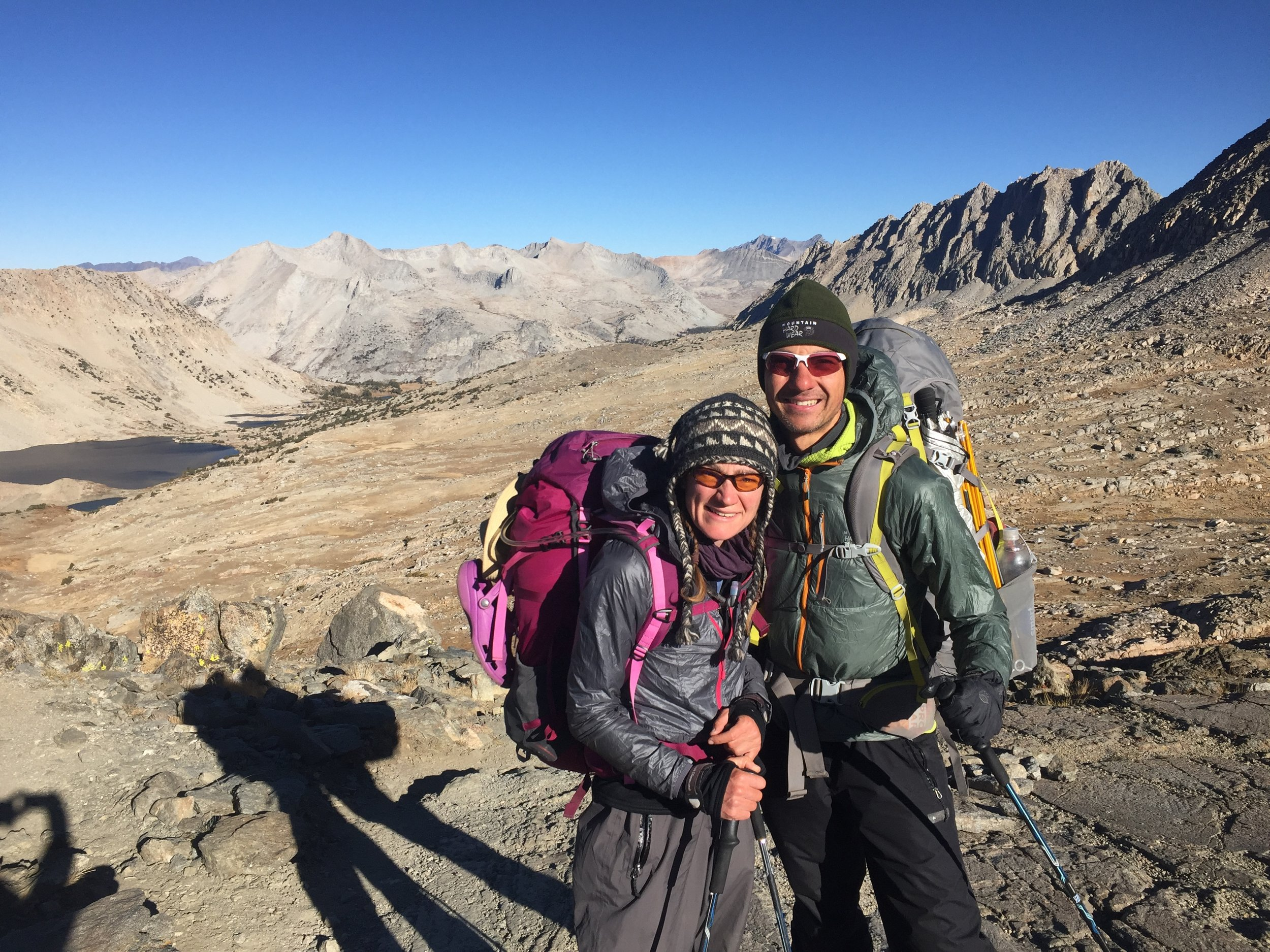 This is October in the high country. Despite the stiff climb and full sun at Pinchot Pass, the wind is cold and strong and we are still wearing every layer we have except for down jackets. (PC: random backpacker)