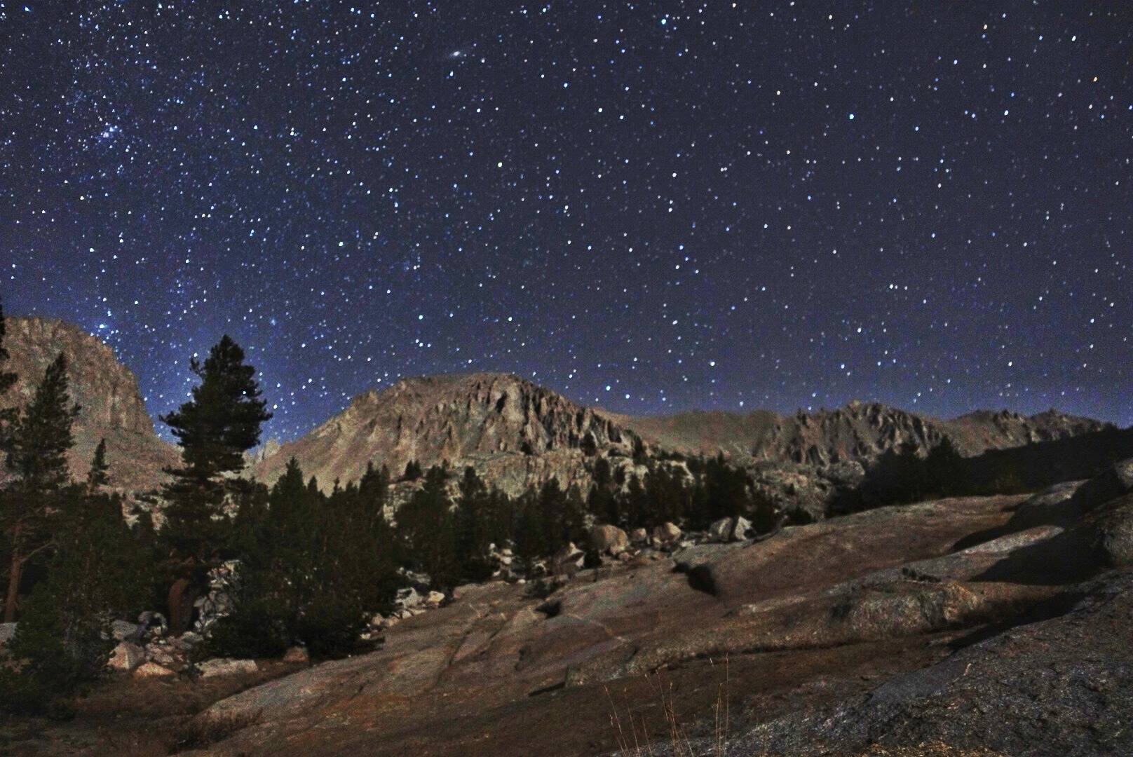 Night sky over Mt. Whitney from the granite apron just above our campsite.