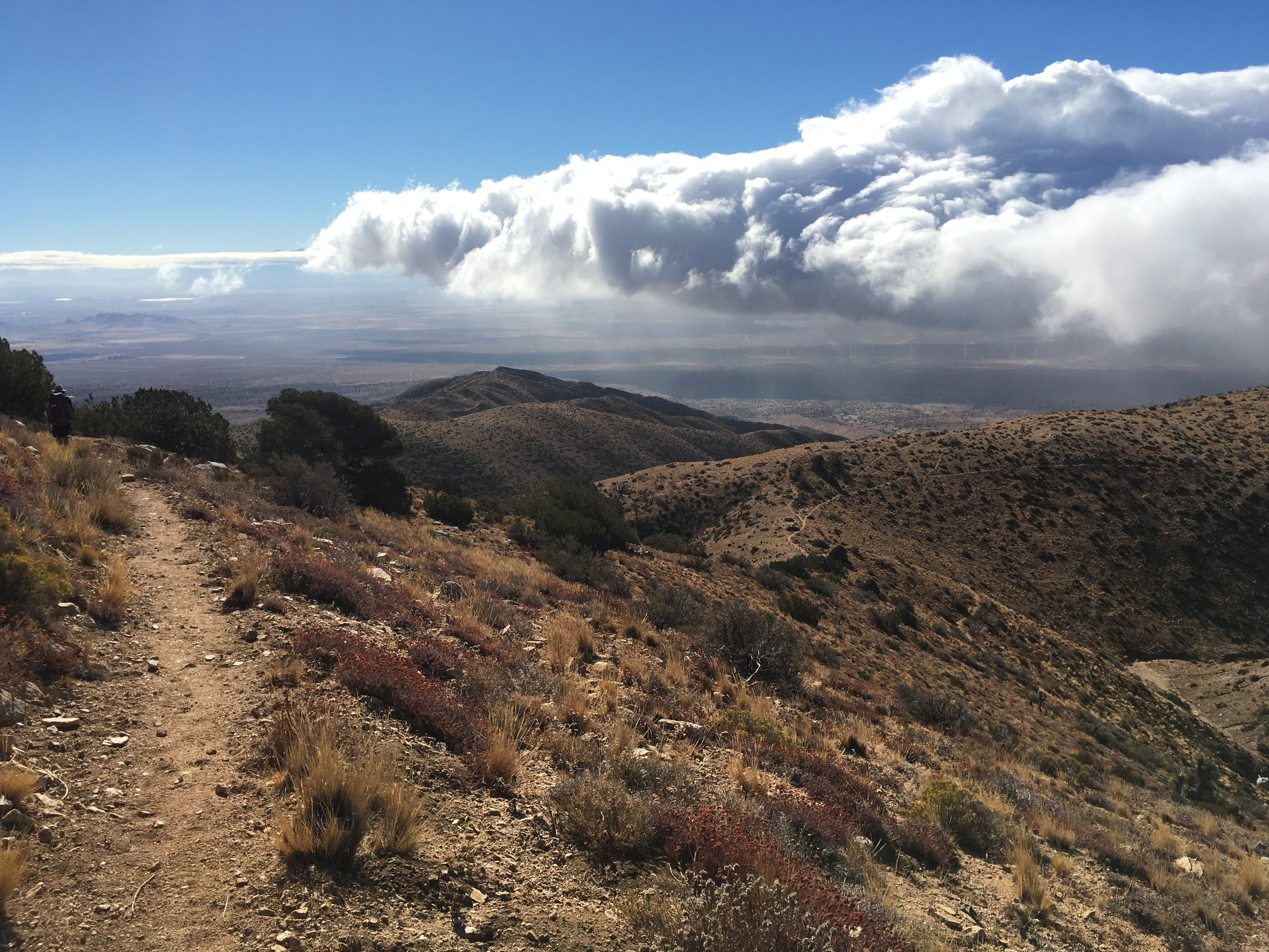 This tongue of cloud persisted all day and jutted out into the desert. I didn't think an already dramatic land could look more so, but it did.