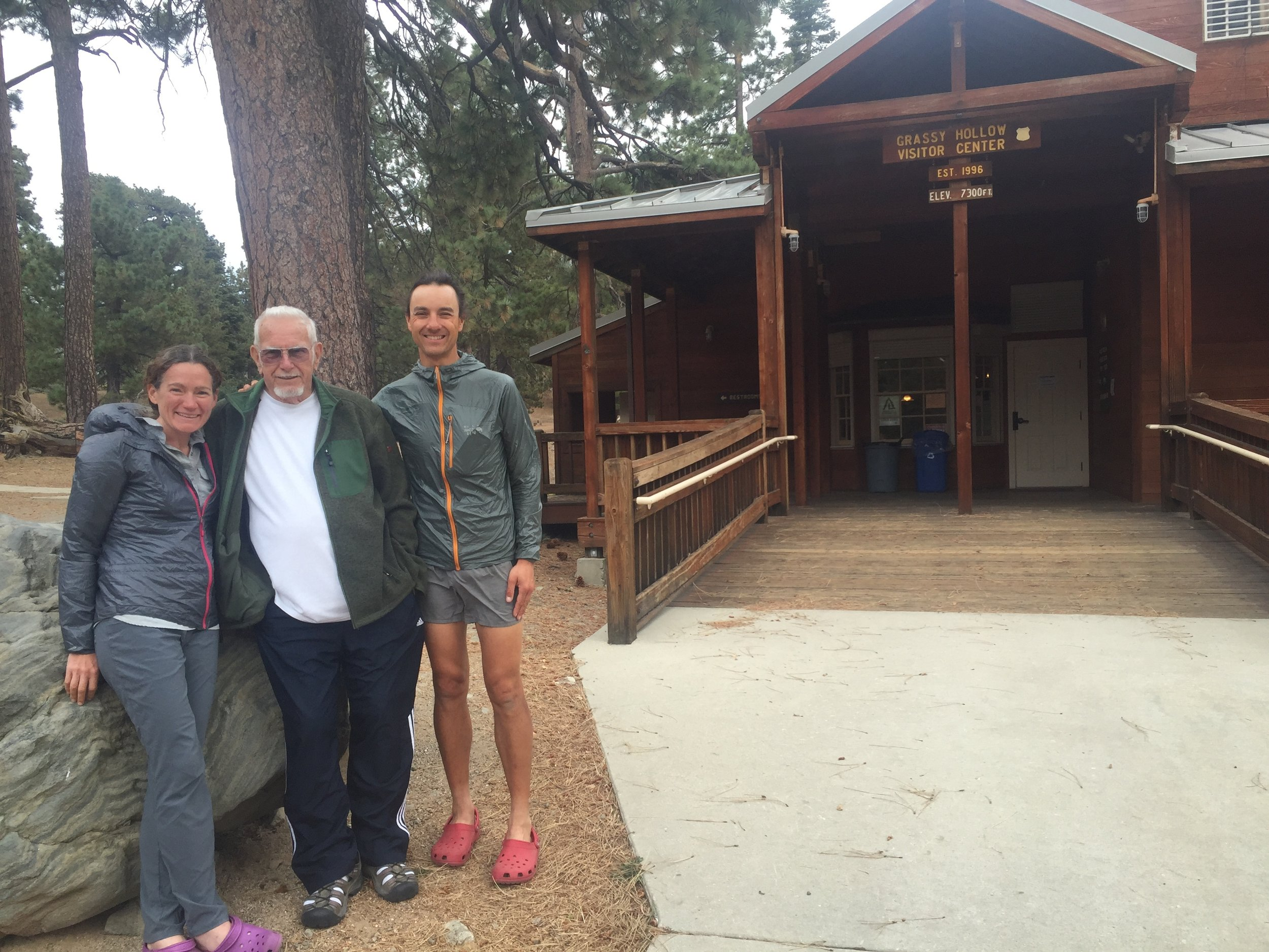 Huckleberry, Clark, and me in front of the Grassy Hollow Visitor's Center.