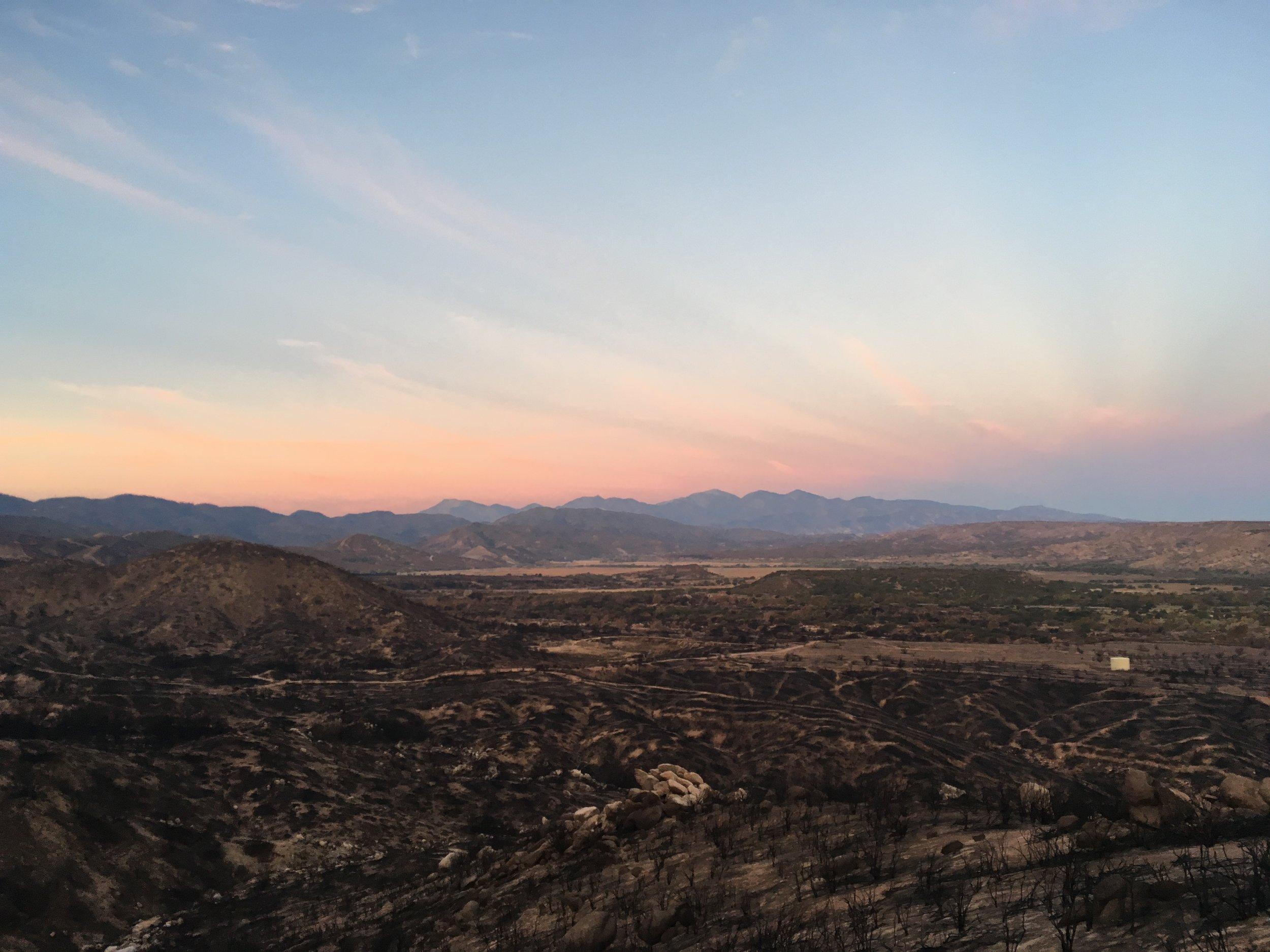 Dawn looking back to the San Gabriels from the San Bernardinos.