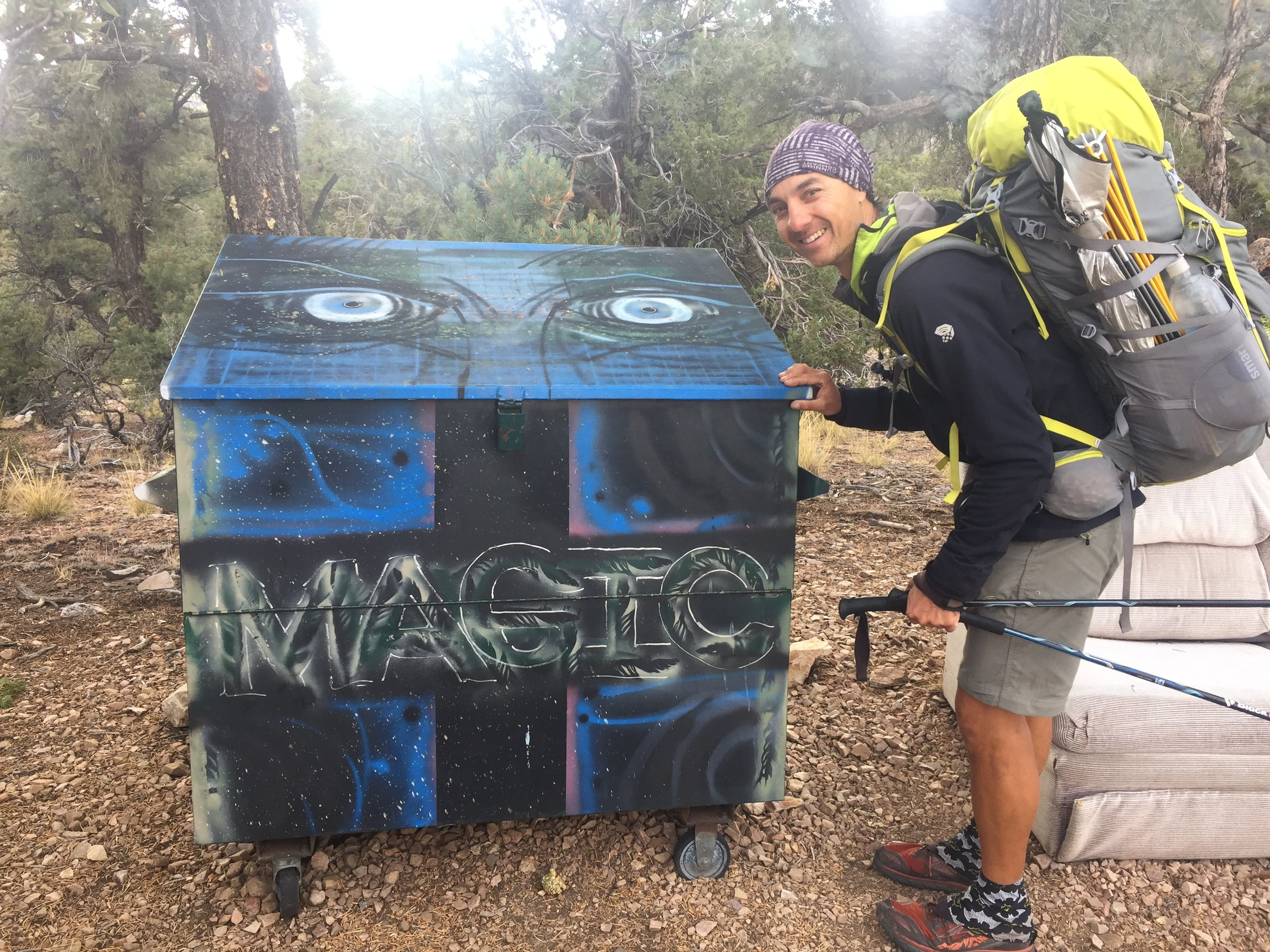 The most artistic trail magic dumpster we've ever seen. We might have sat on the couch if it wasn't raining.