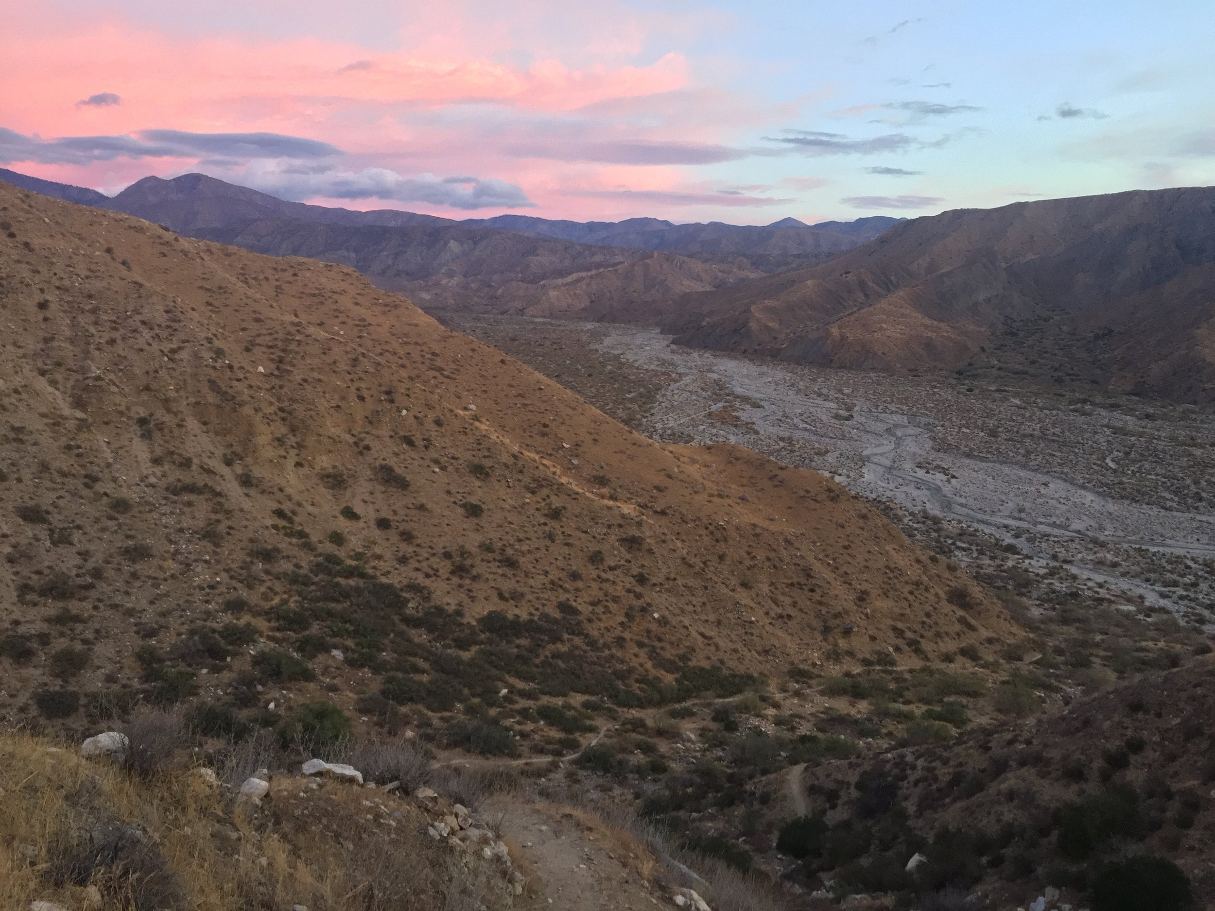 Morning glow looking north over the pale valley of the Whitewater River