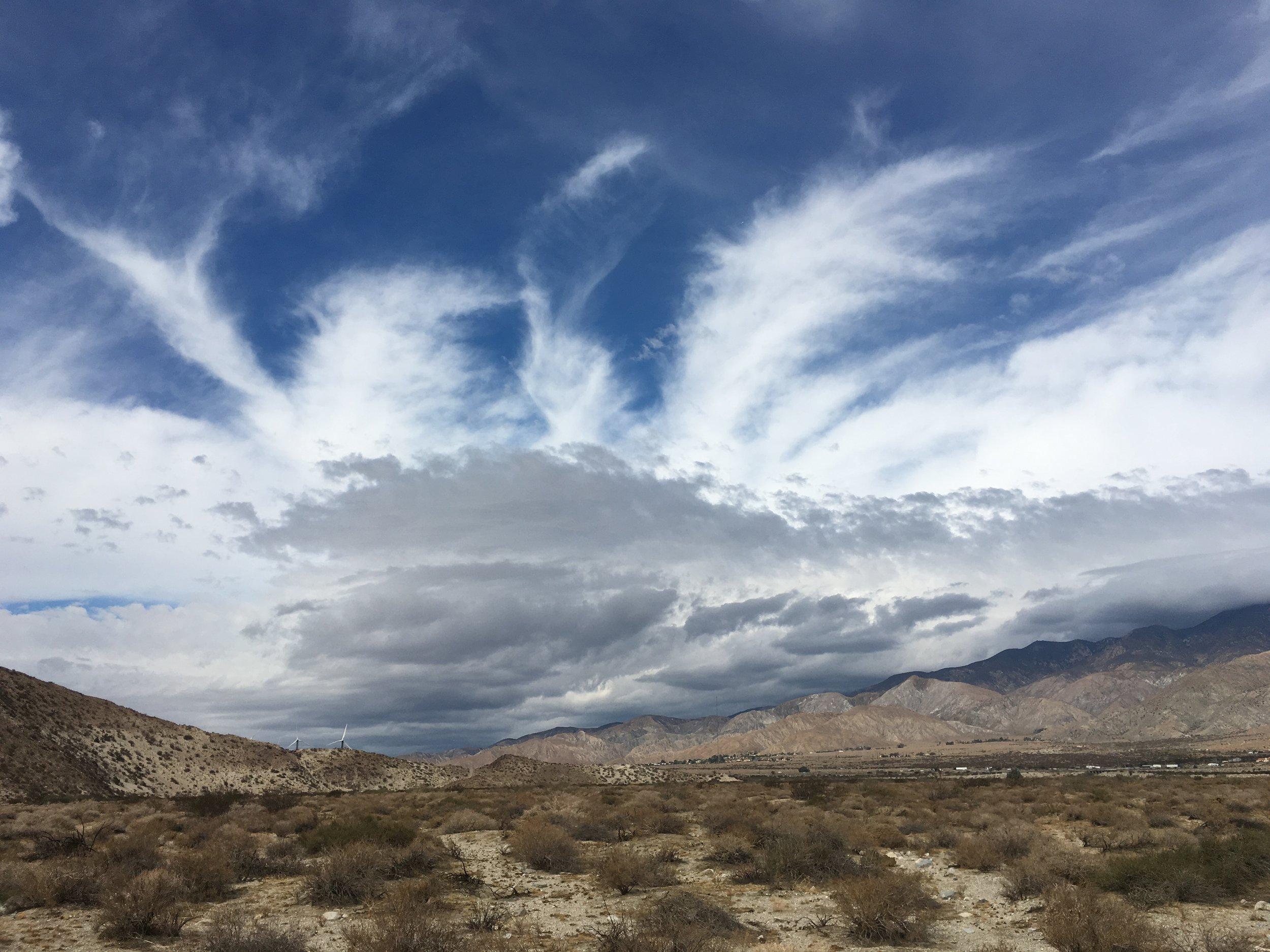 Storm clouds brewing as we cross the desert.