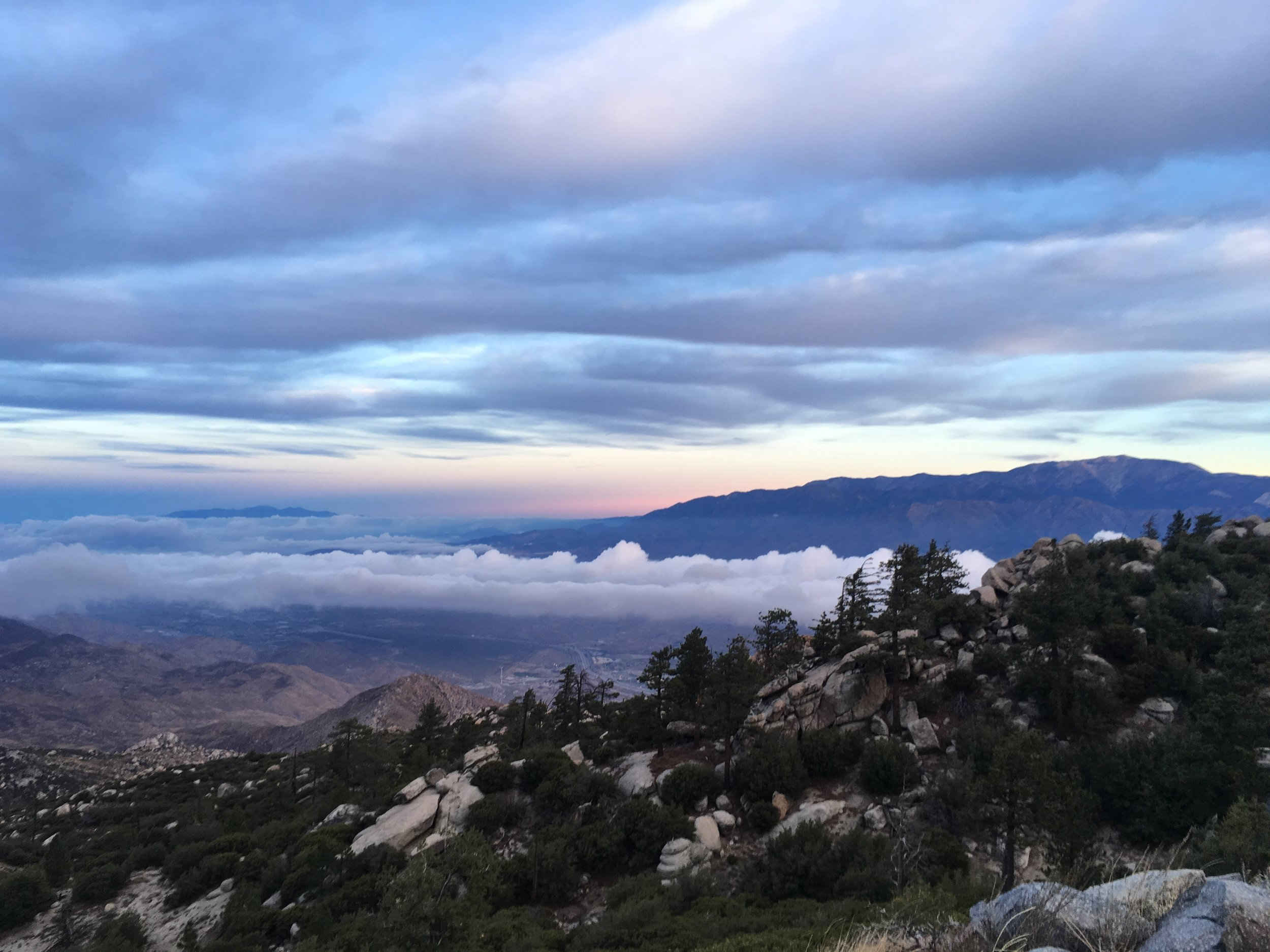 Two layers of clouds persisting over the valley between the San Bernardinos and San Jacintos.