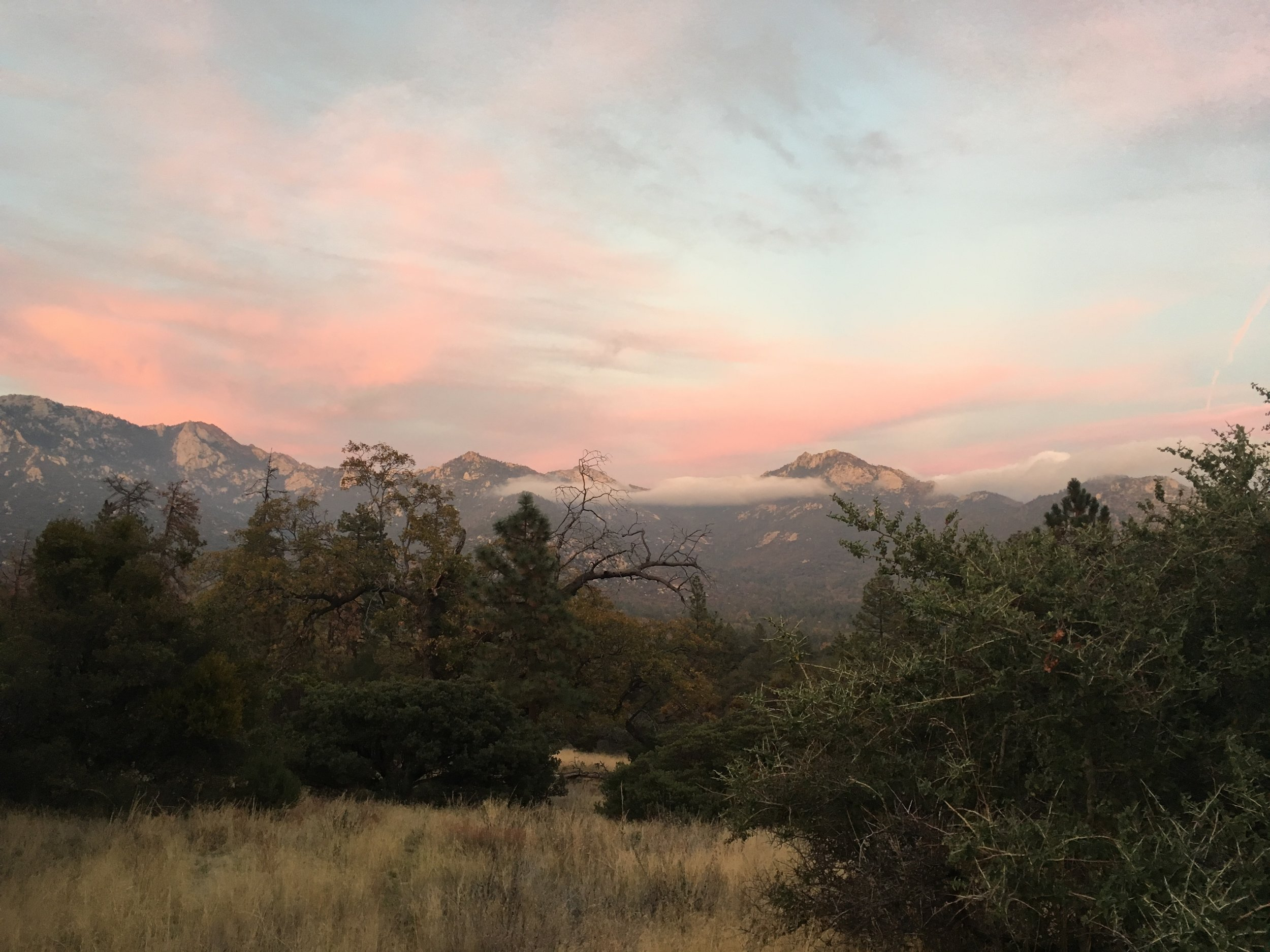 Last light on the San Jacintos as we made our way to Herkey Creek Campground.