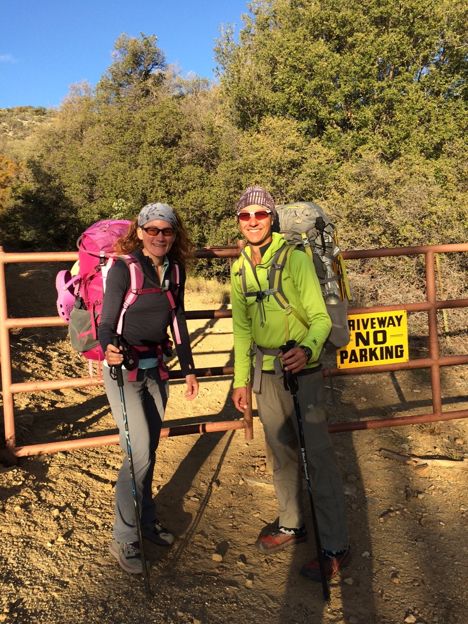 """Ready for a 4:30pm start at the Cedar Spring Trailhead, flouting fellow SOBO Happy Feet's theory: """"If you can't get out of town before 2:30pm, you might as well just spend the night"""" (PC - Julie)"""