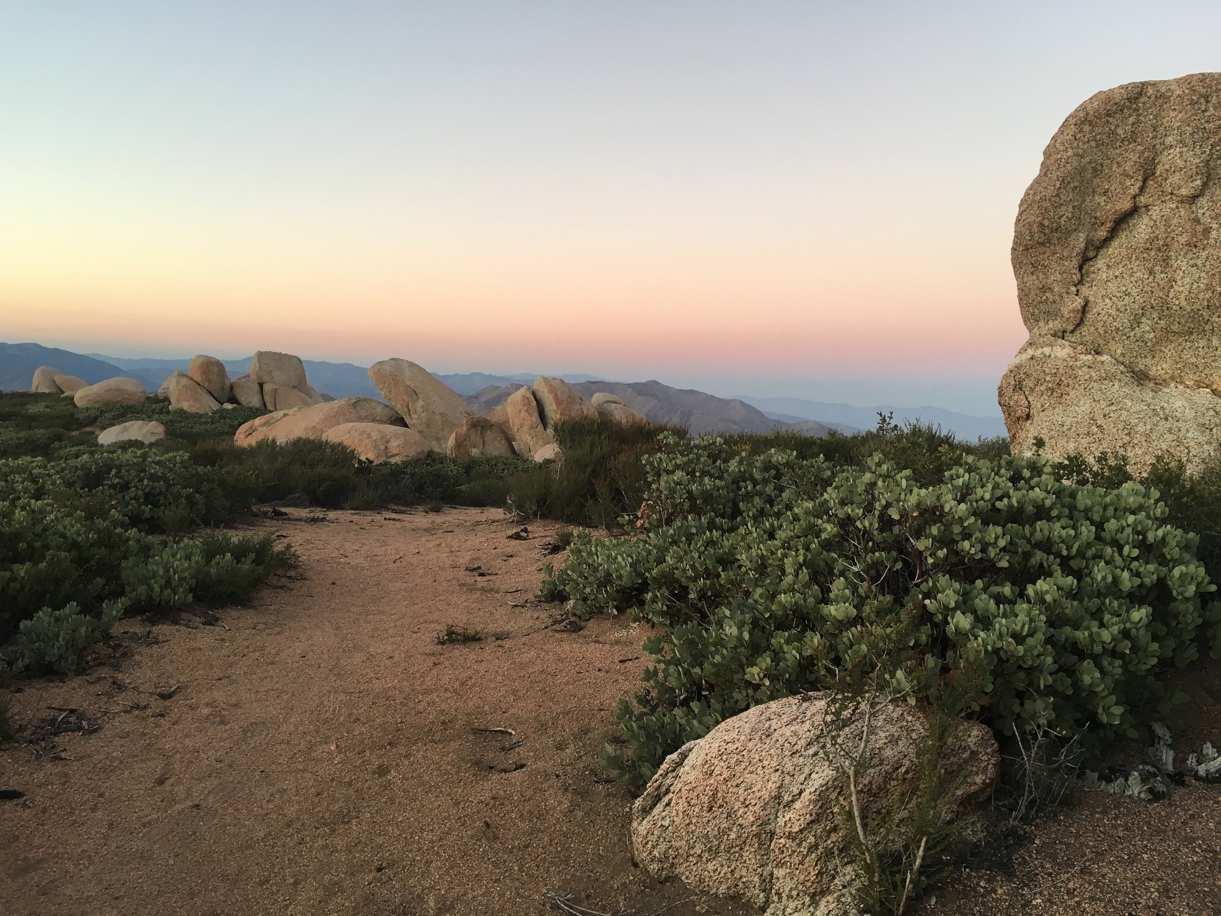 Dusk amongst the granite and manzanita of Garnet Mountain.