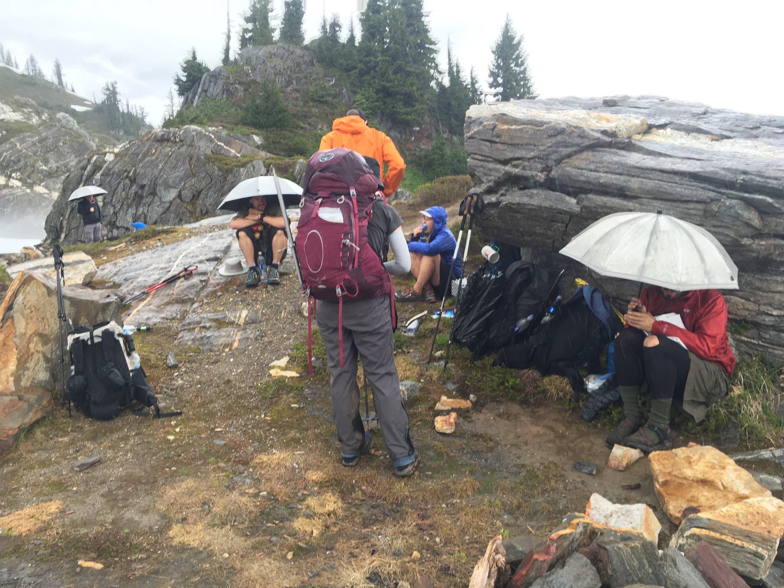 Thru-hiker huddle