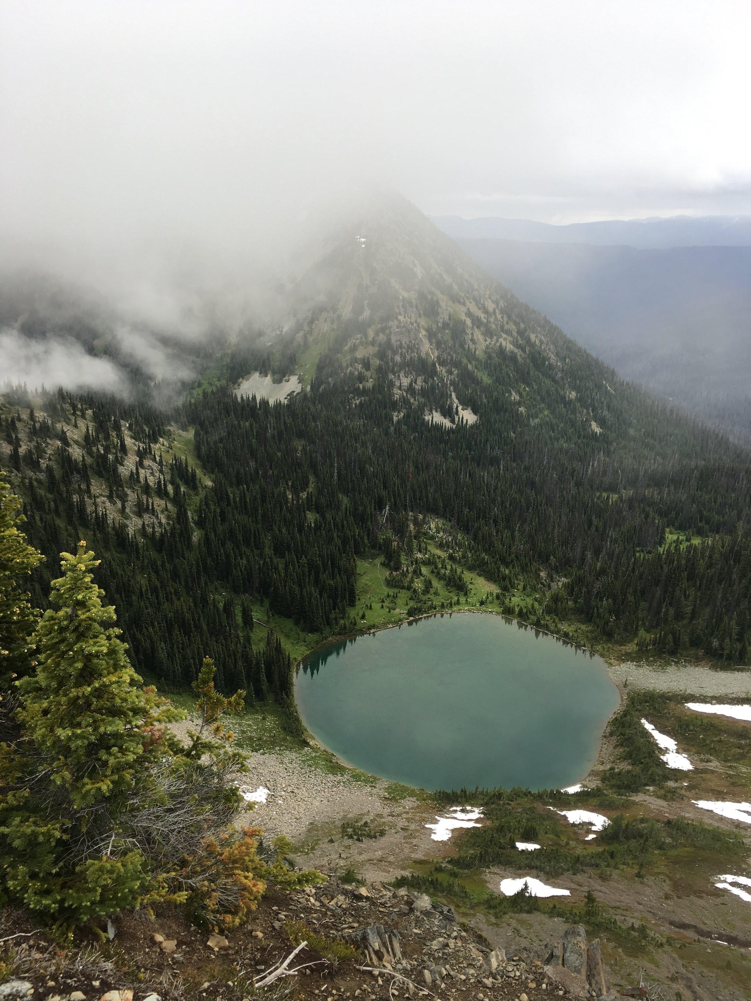 PCT Day 2 Hopkins Lake from Hopkins Pass vert.JPG