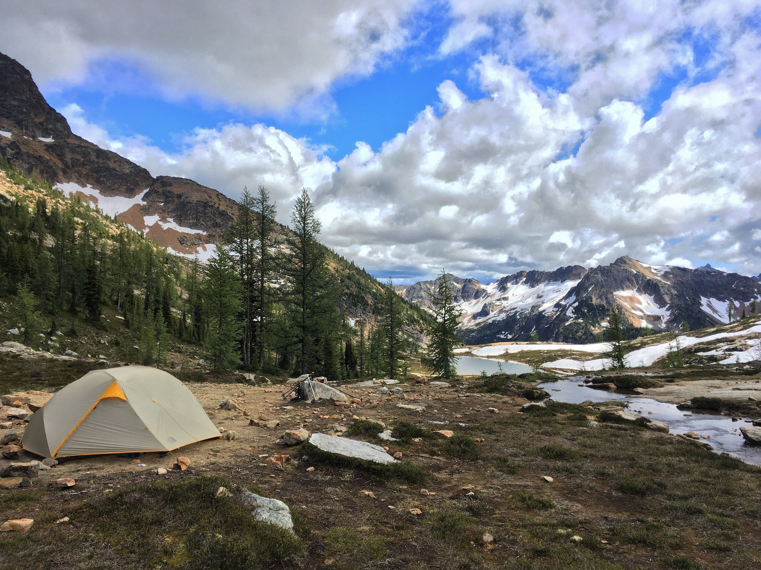 PCT Day 6 Tent Snowy Lakes Basin puffy clouds tamaracks.JPG
