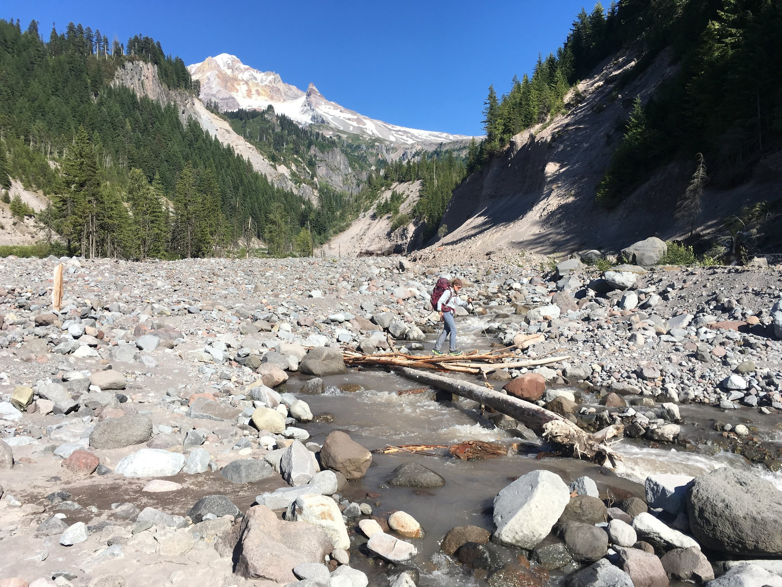 PCT Day 32- C crossing Sandy Creek below Mt Hood.JPG