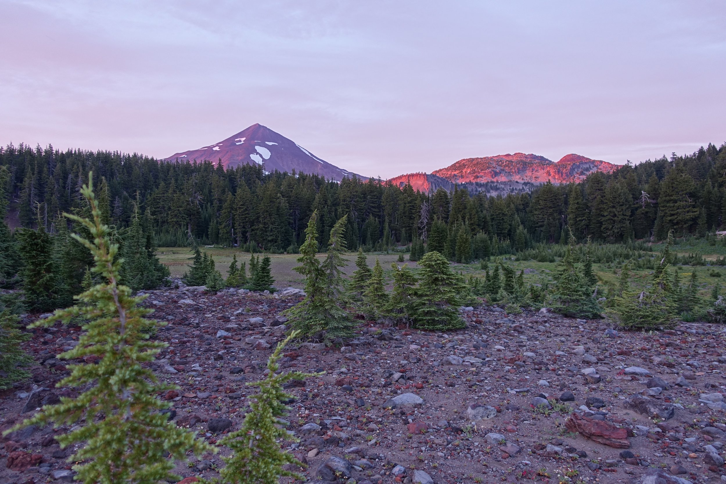 PCT Day 38- Sunset glow on Middle Sister.JPG