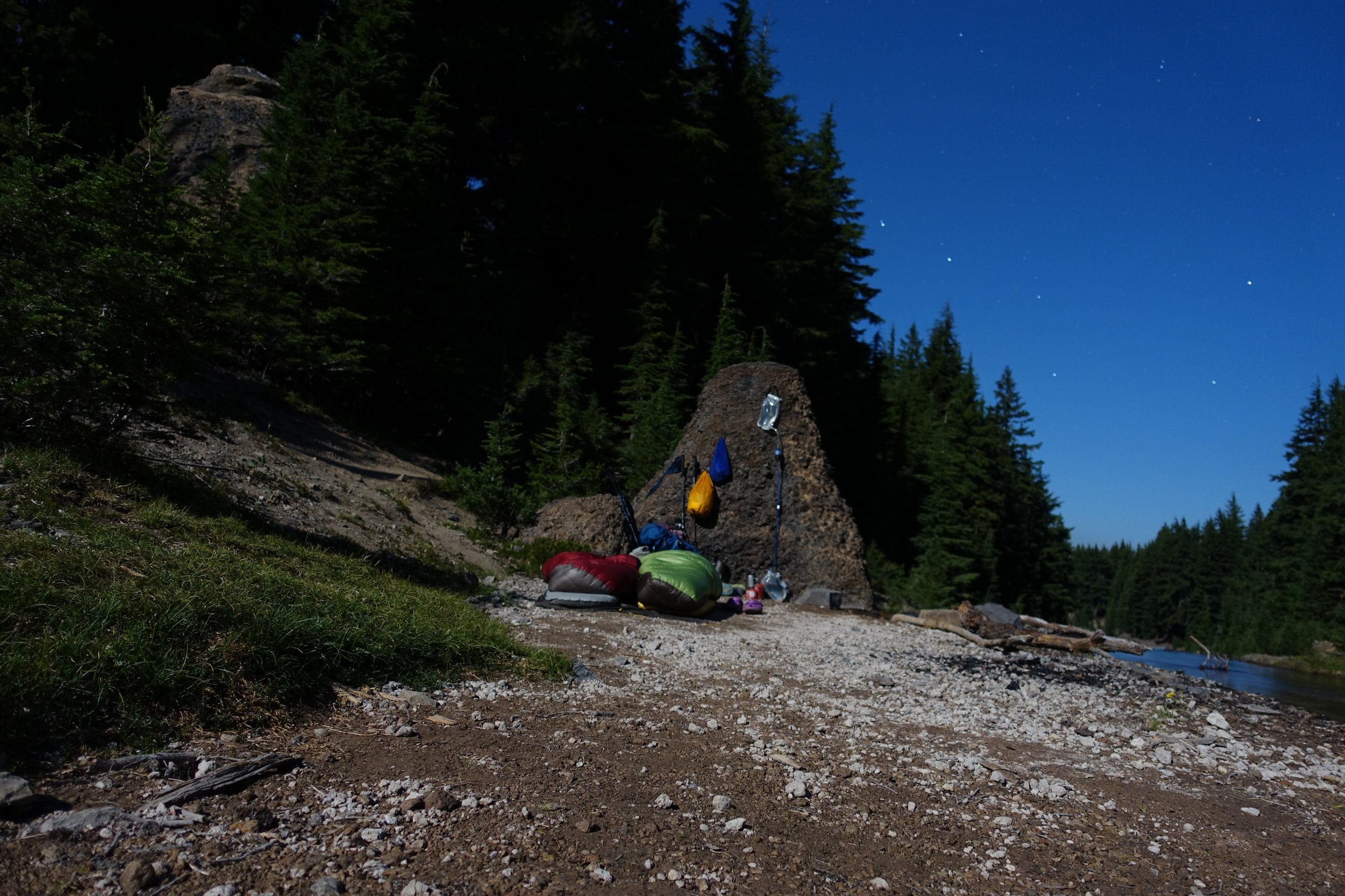 PCT Day 42- Thielsen Creek camping under a full moon.JPG