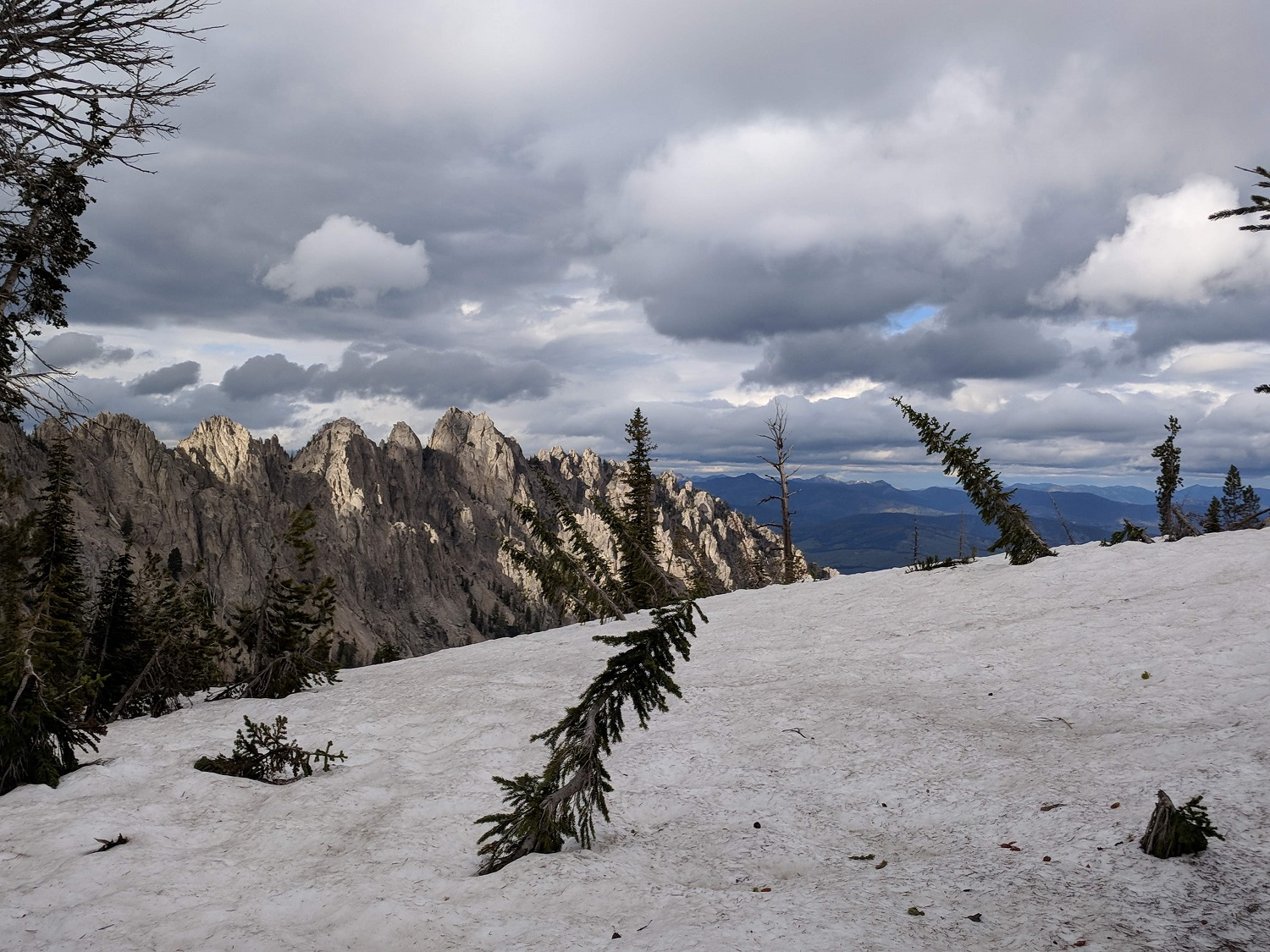 Crags, clouds, and snow